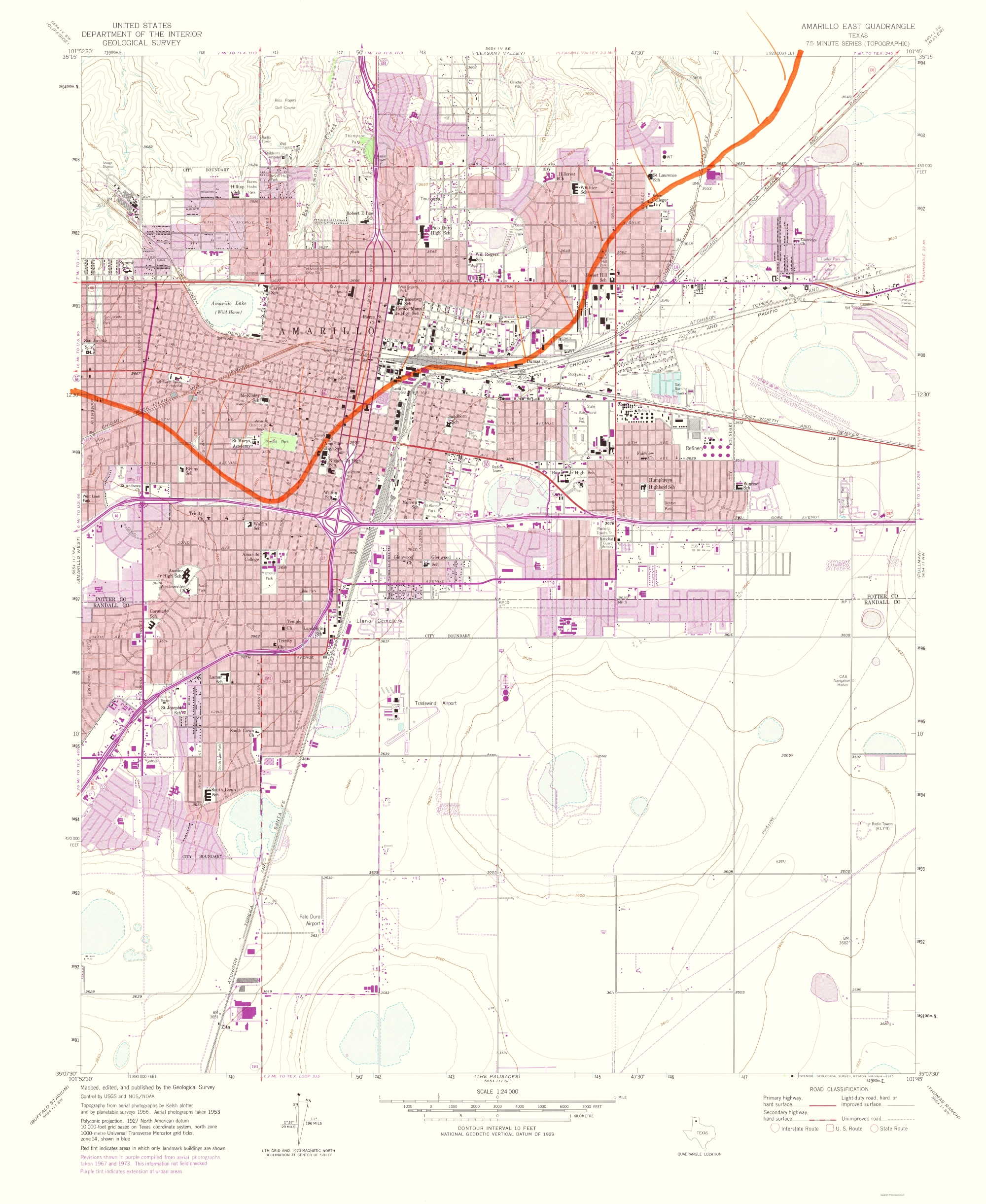 Map Of Texas Amarillo.Old Topographical Map Amarillo East Texas 1975