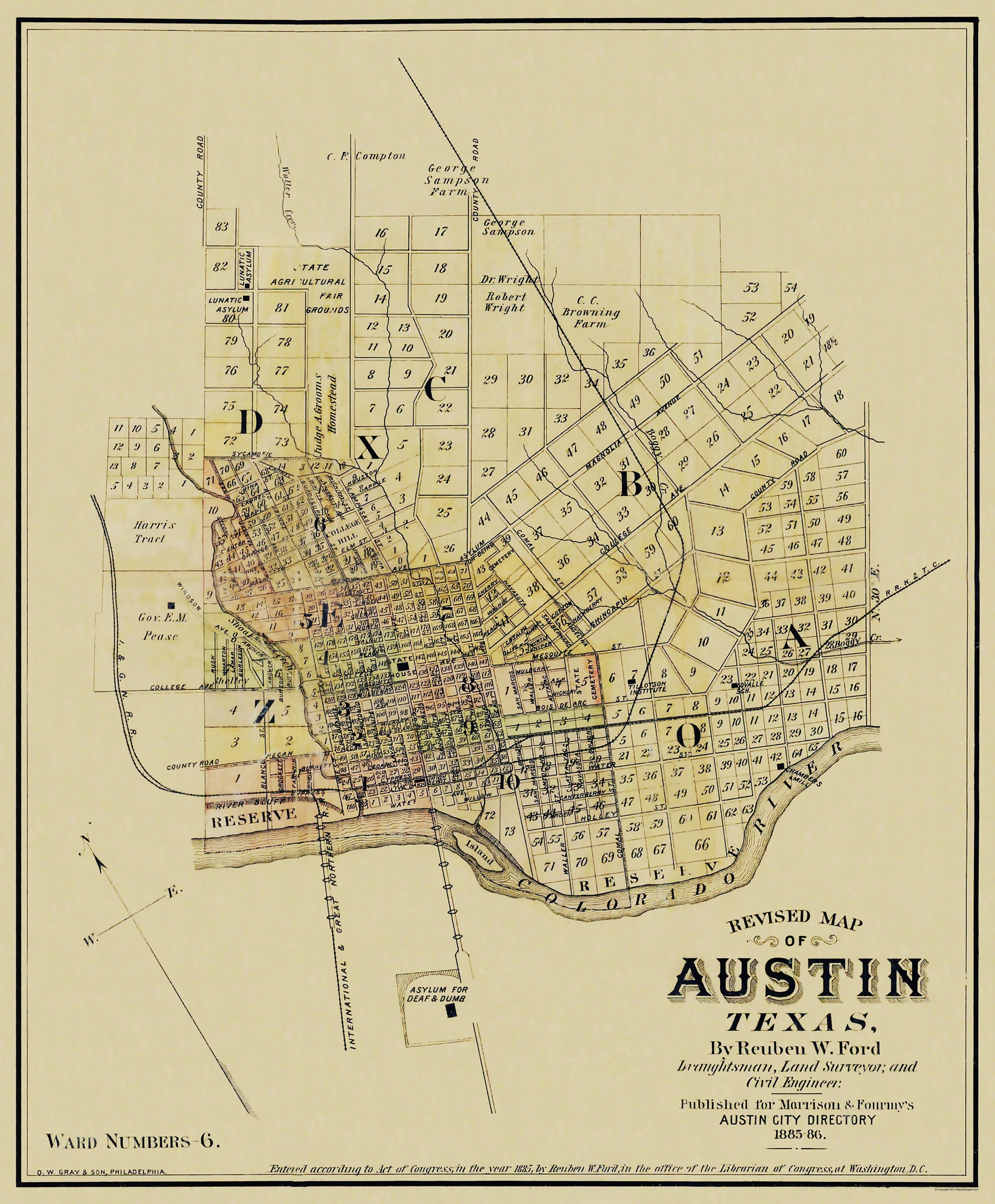 Old City Map Austin Texas Landowner 1885