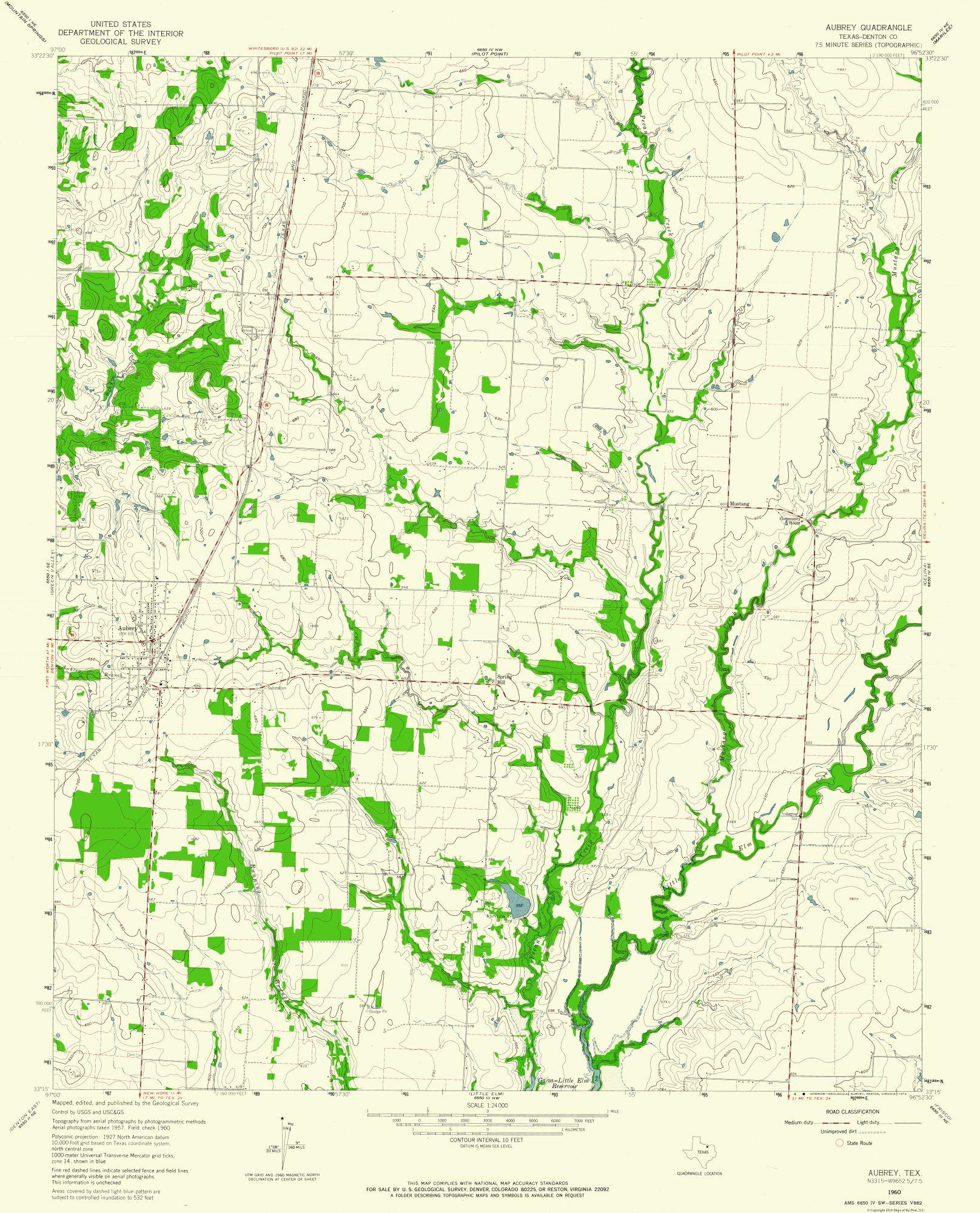Historical Topographical Maps Aubrey Texas Quad Usgs 1960 23