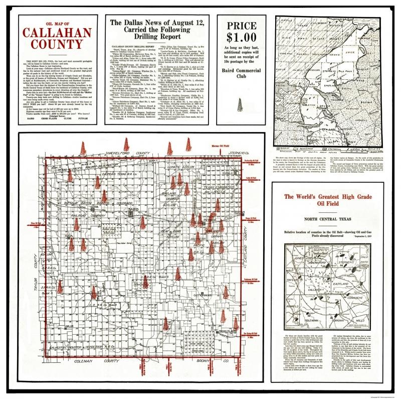 Old County Map Callahan Texas Oil 1919 23 13 X 23