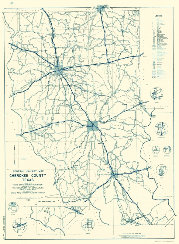 Old County Map Cherokee Texas Highway 1936