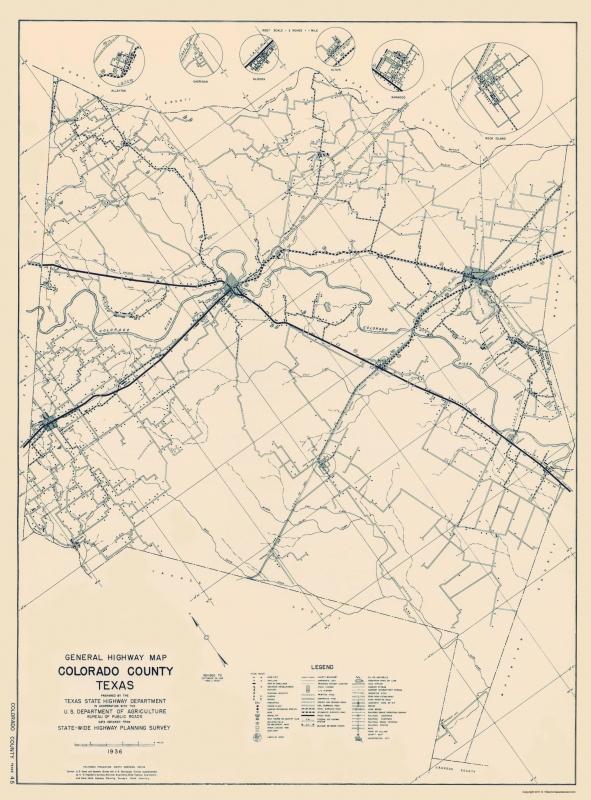 Old County Map - Colorado Texas Highway - 1936 - 23 x 31.13