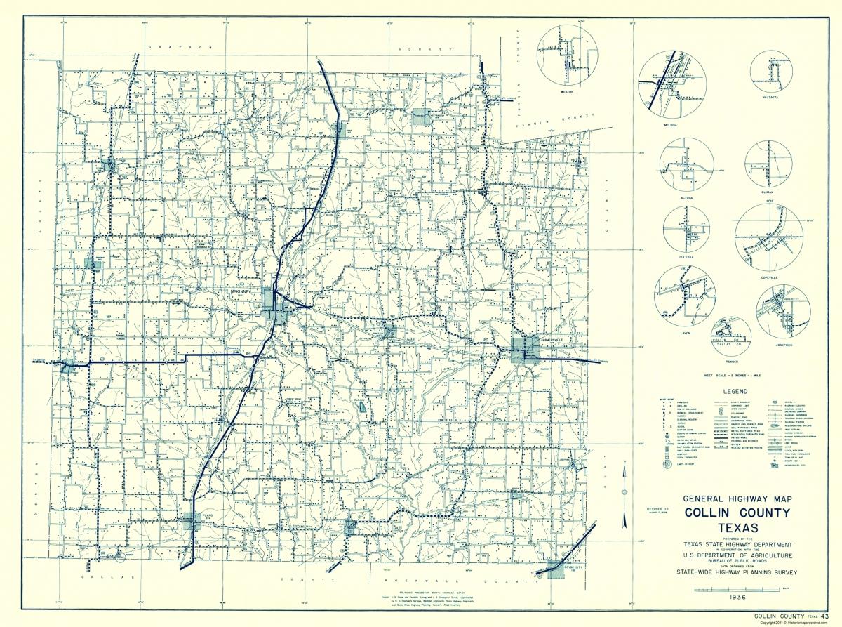 Old County Map Collin Texas Highway Highway Dept 1936