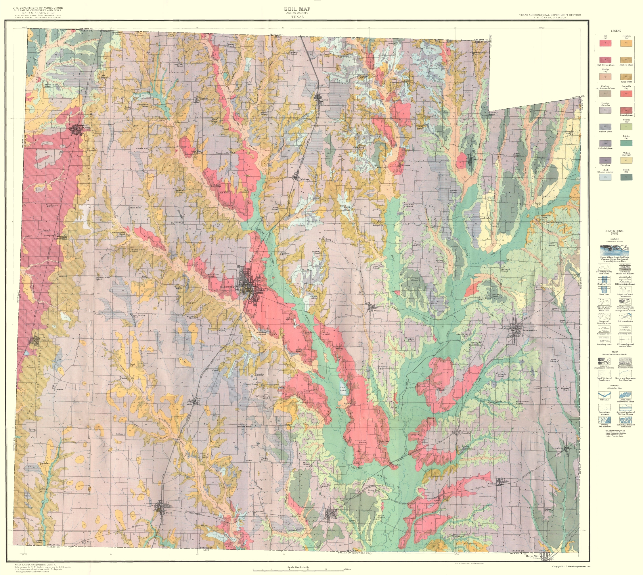 Old County Map Collin Texas Soil USDA - Us map 1930