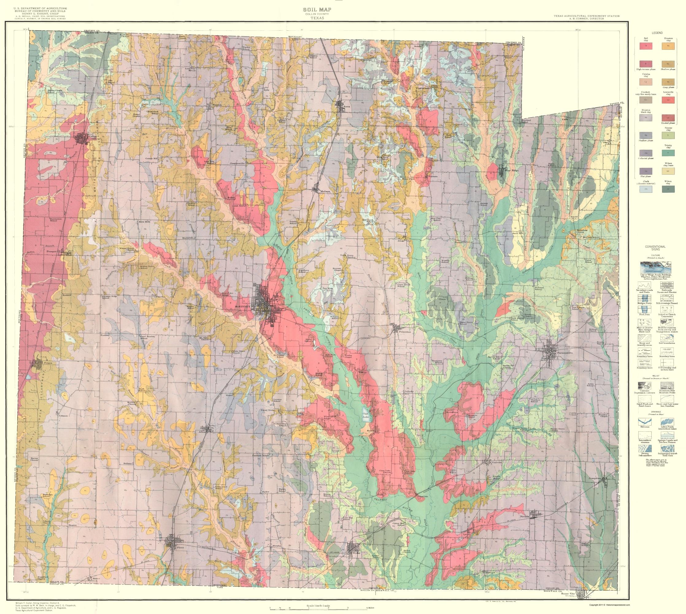 Old County Map Collin Texas Soil USDA - County maps of texas
