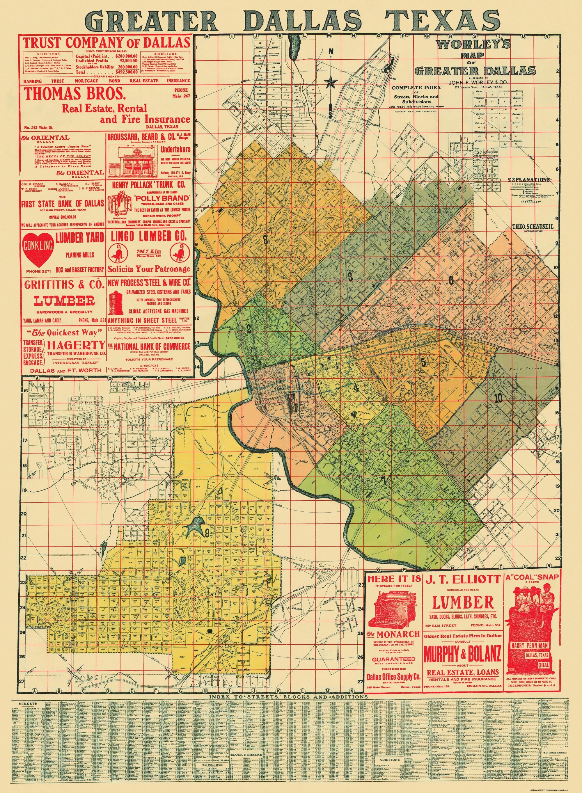 Old City Map - Dallas Texas Landowner - 1905