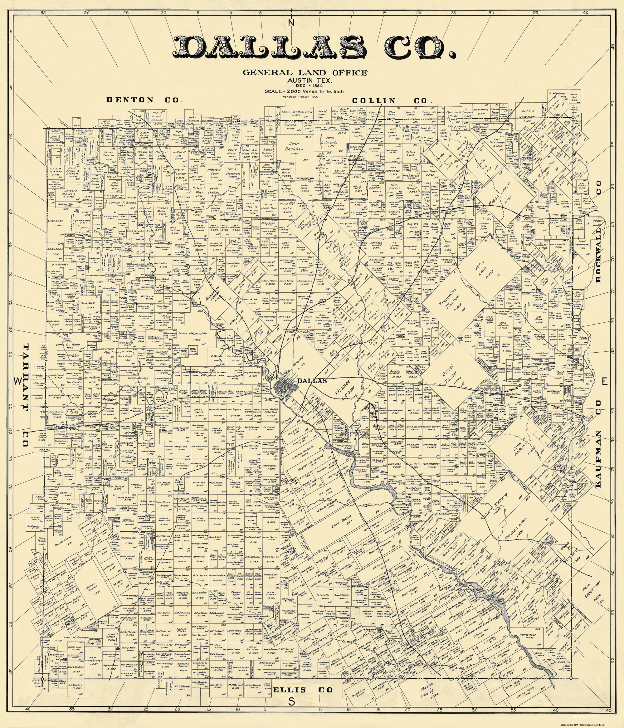 Old Dallas Map.Old County Map Dallas Texas Landowner 1884