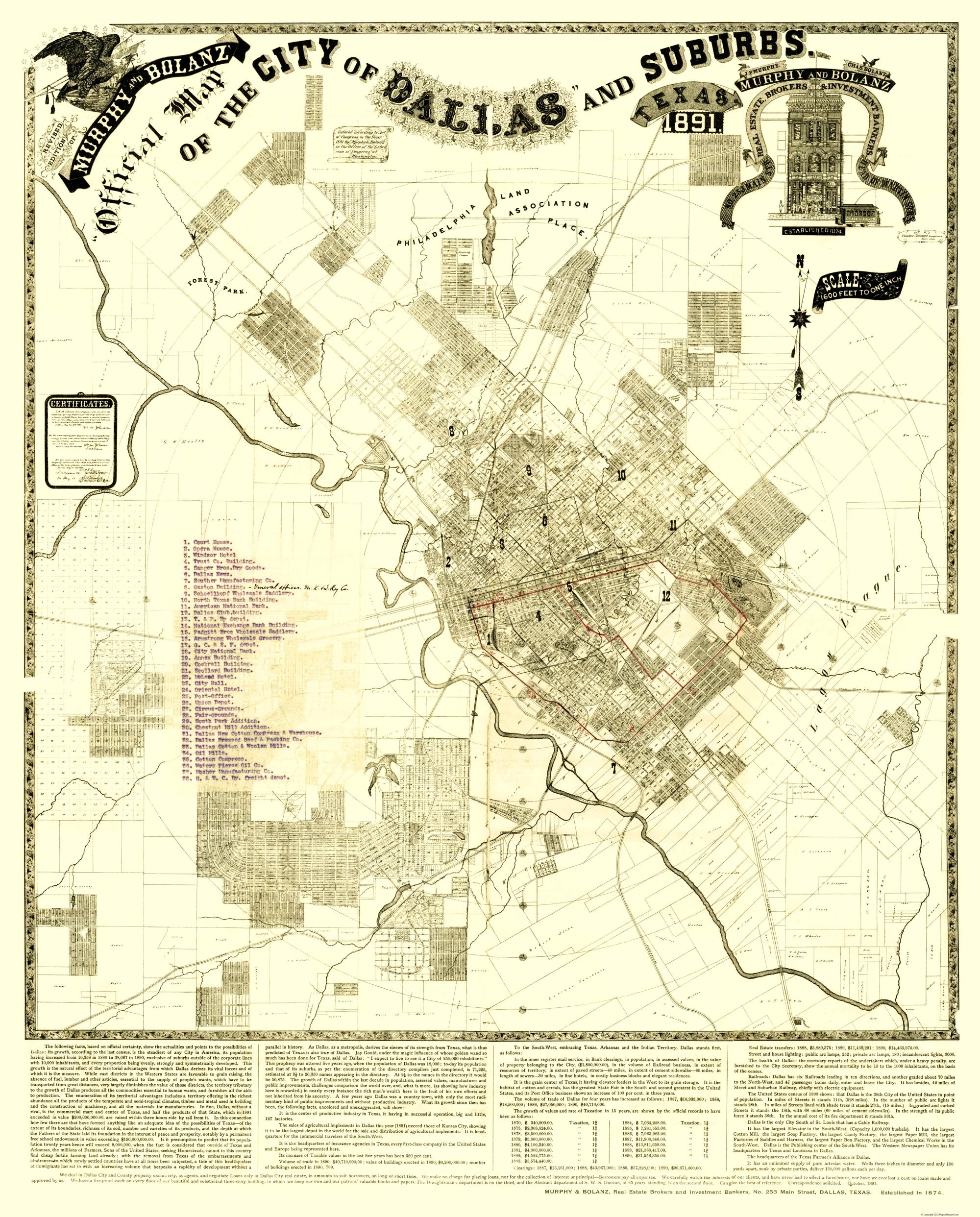 Dallas, Suburbs Texas Landowner - Murphy 1891 - 23 x 28.56