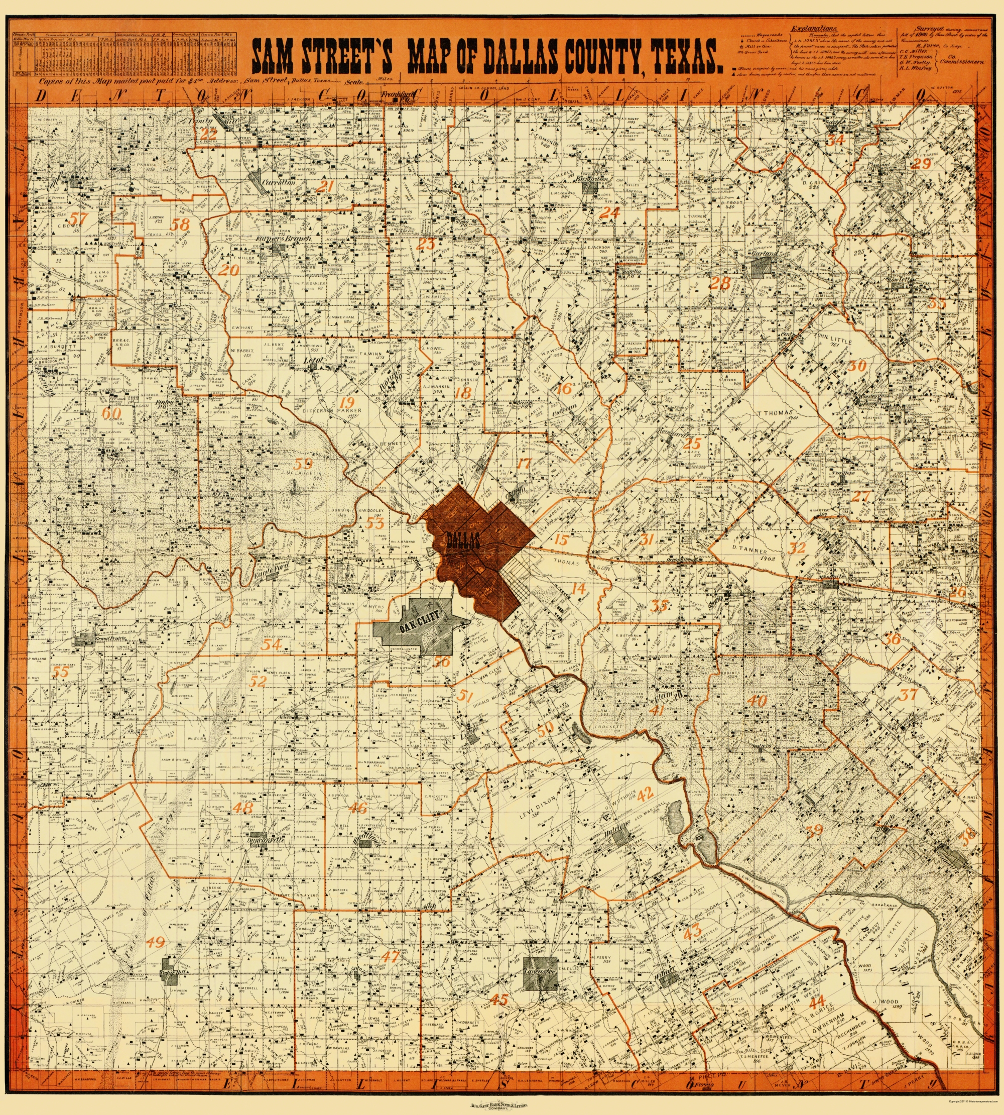Old Dallas Map.Old County Map Dallas Texas Landowner Street 1902