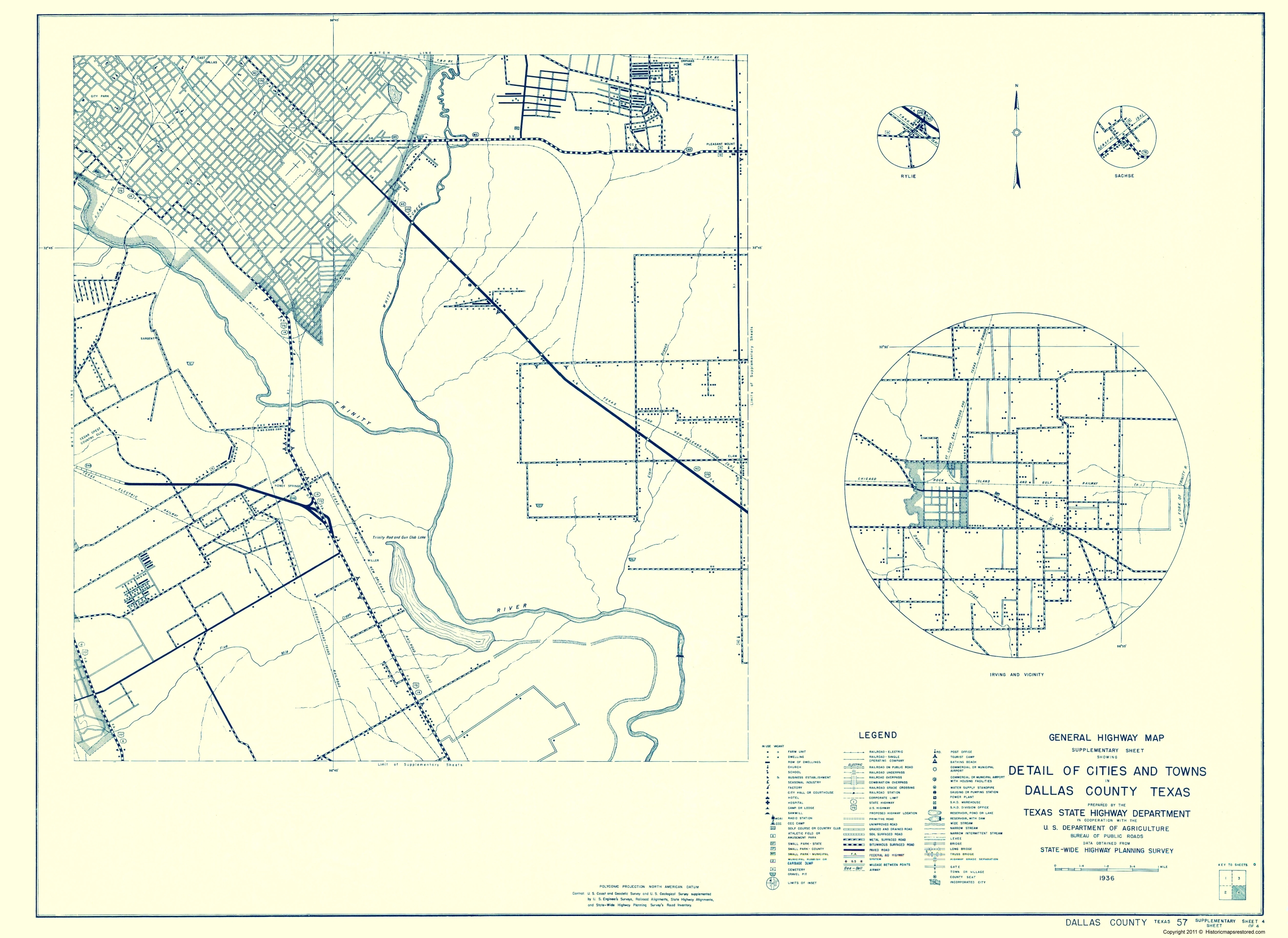 Dallas On A Map Of Texas.Old County Map Dallas Texas Cities 4 Of 4 1936