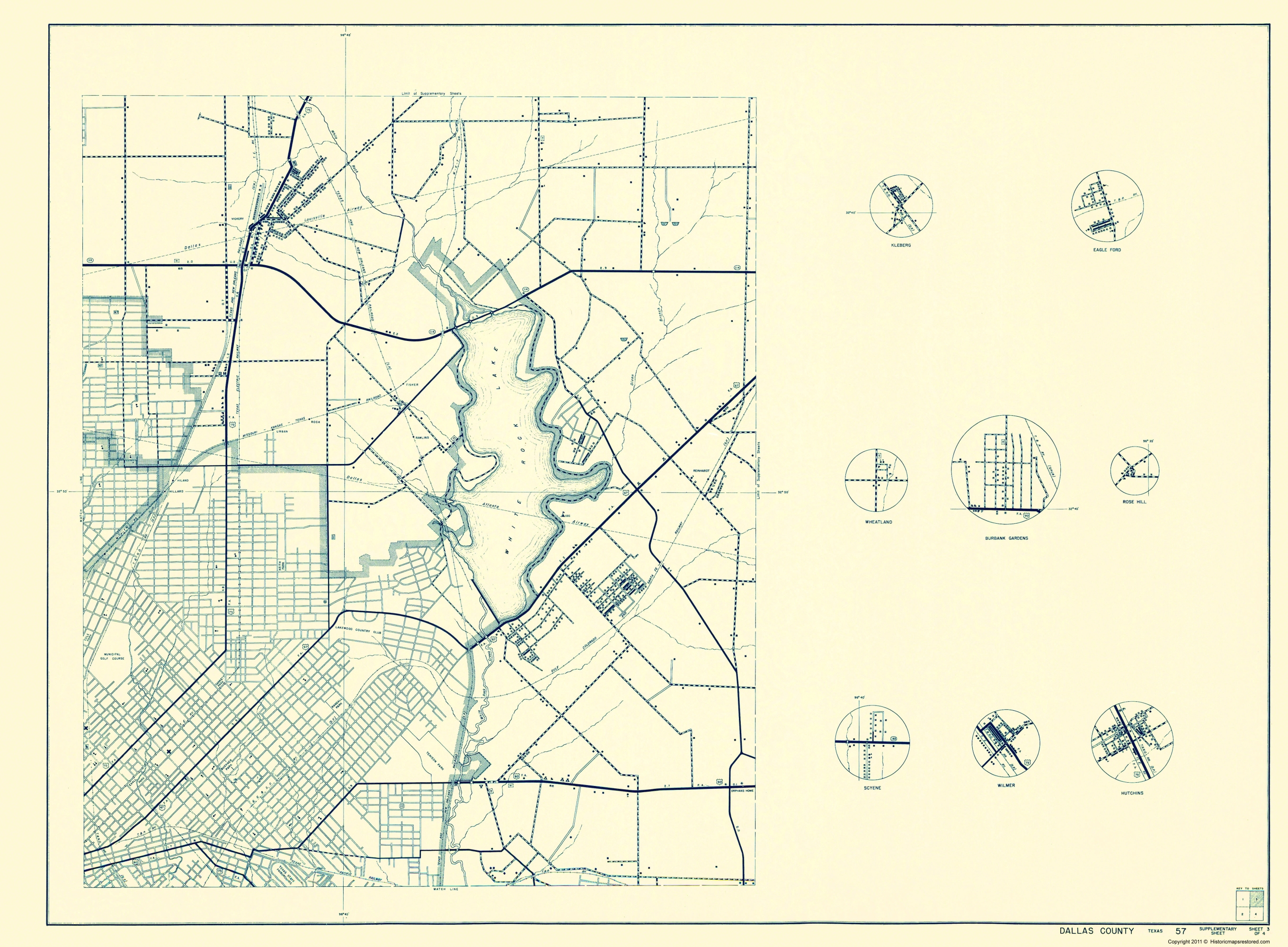 Old County Map - Dallas Texas Cities 3 of 4 1936