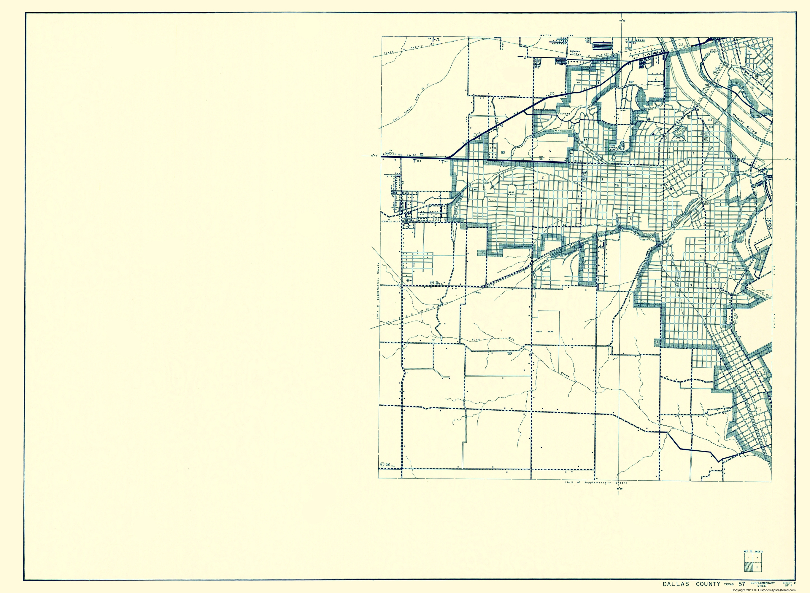 Old County Map - Dallas Texas Cities 2 of 4 - Highway Dept 1936 - 23 x 31.39
