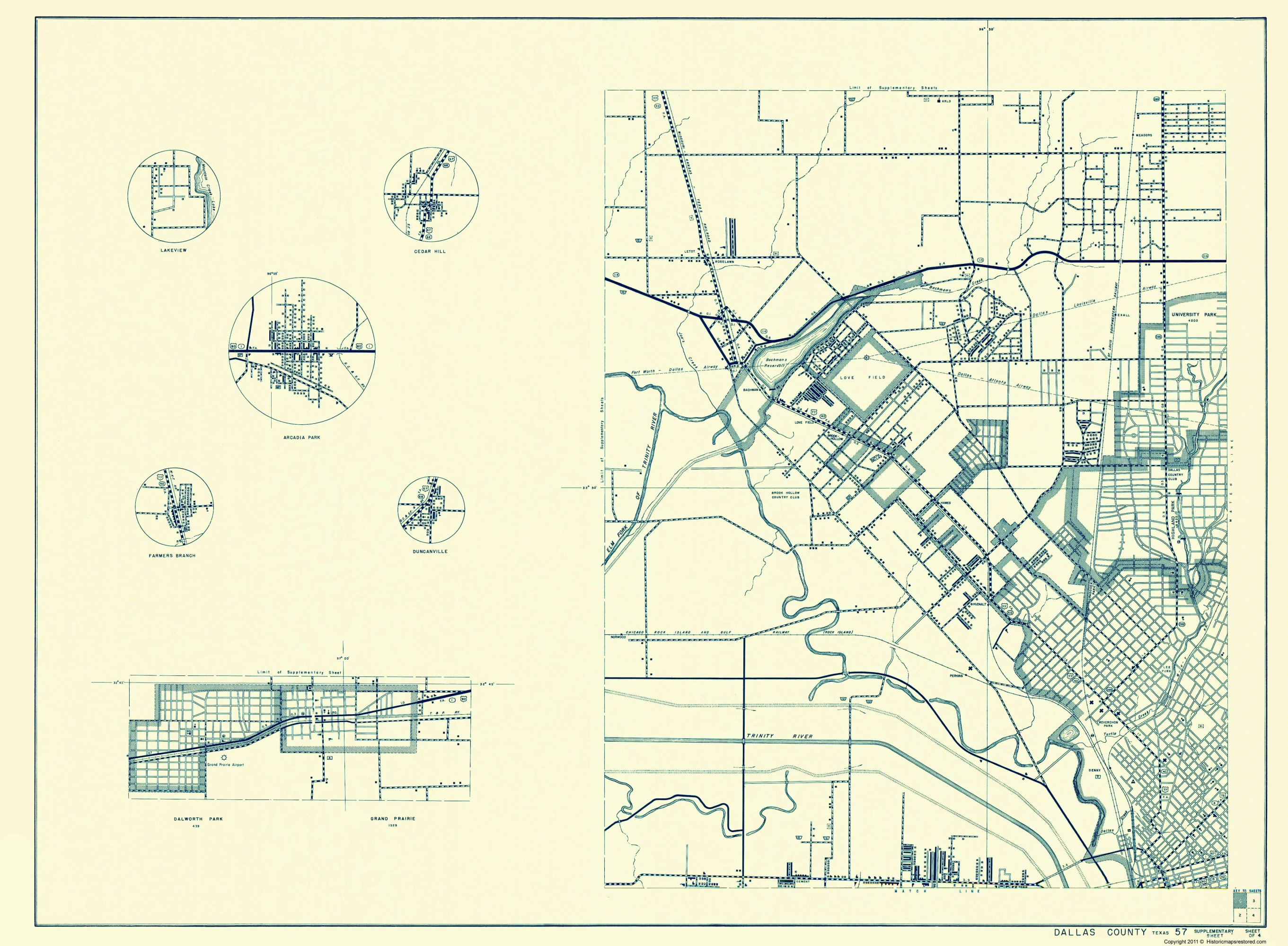Park Cities Dallas Map.Old County Map Dallas Texas Cities 1 Of 4 1936