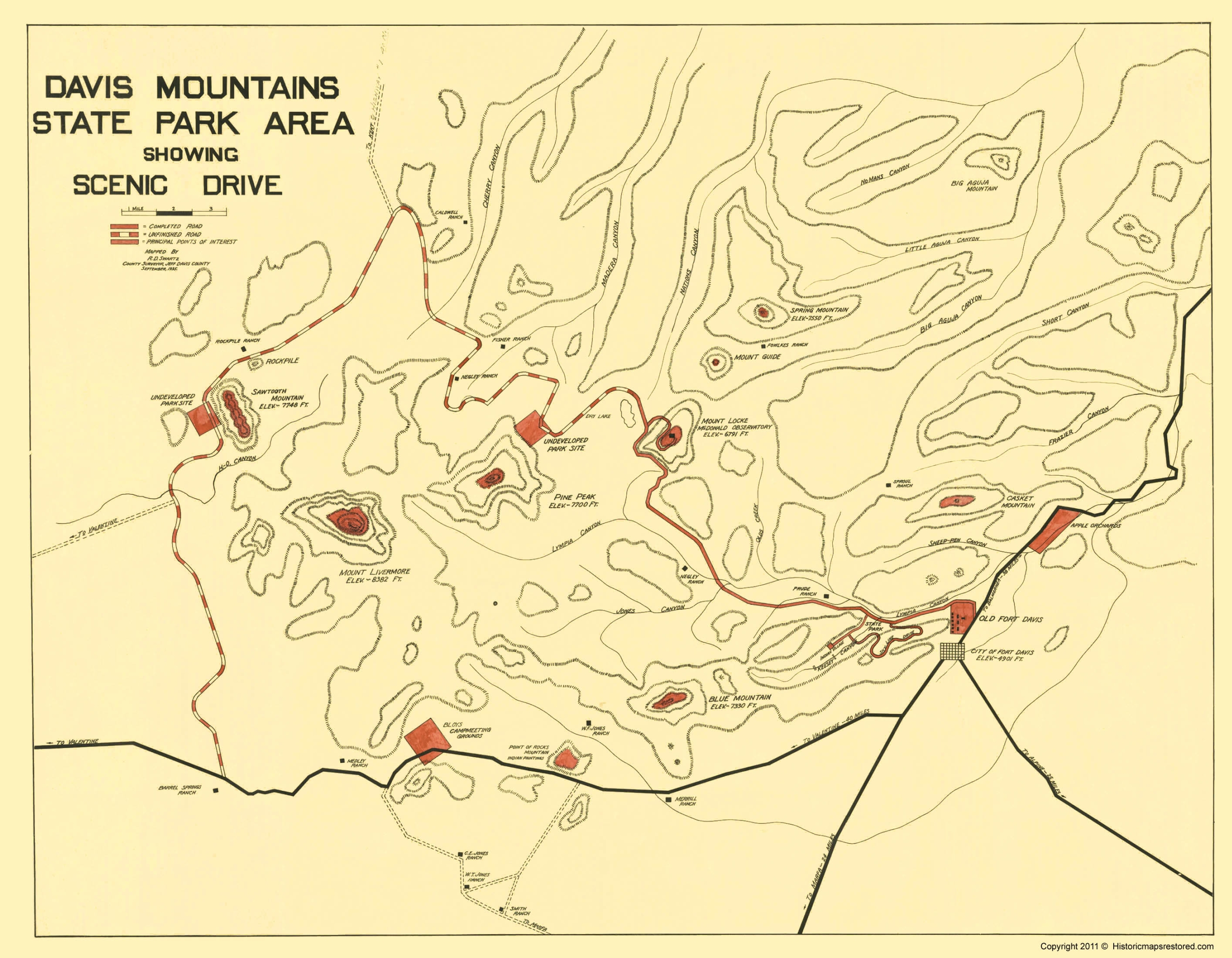 Old State Map Davis Mountains State Park Texas - Mountains united states map