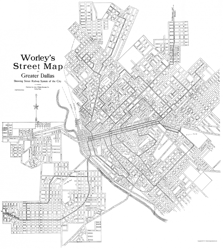Greater Dallas Map.Old City Map Dallas Texas Worley 1909