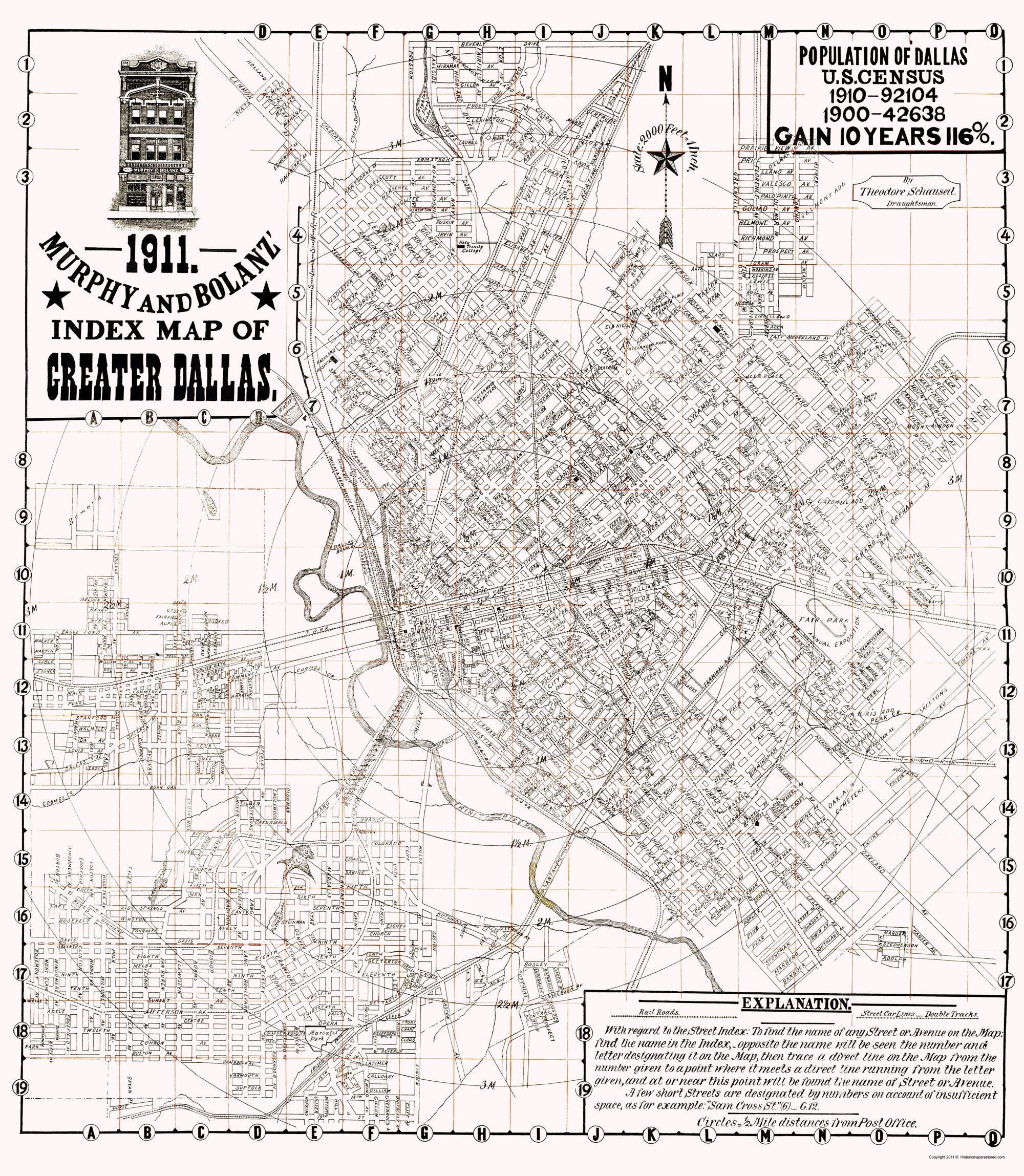 Old Dallas Map.Old City Map Dallas Texas Murphy 1911