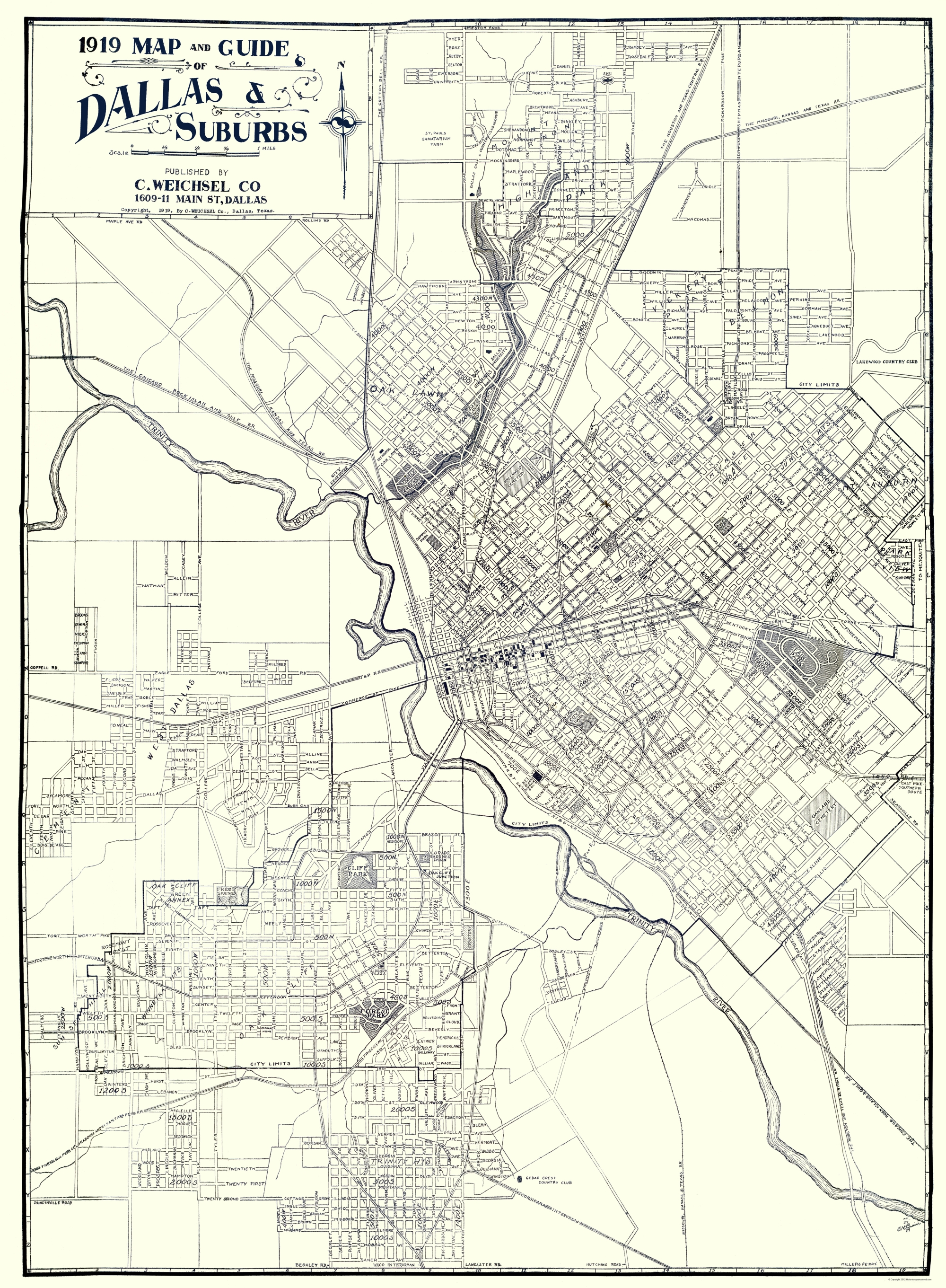 Old City Map - Dallas, Suburbs Texas - Weichsel 1919