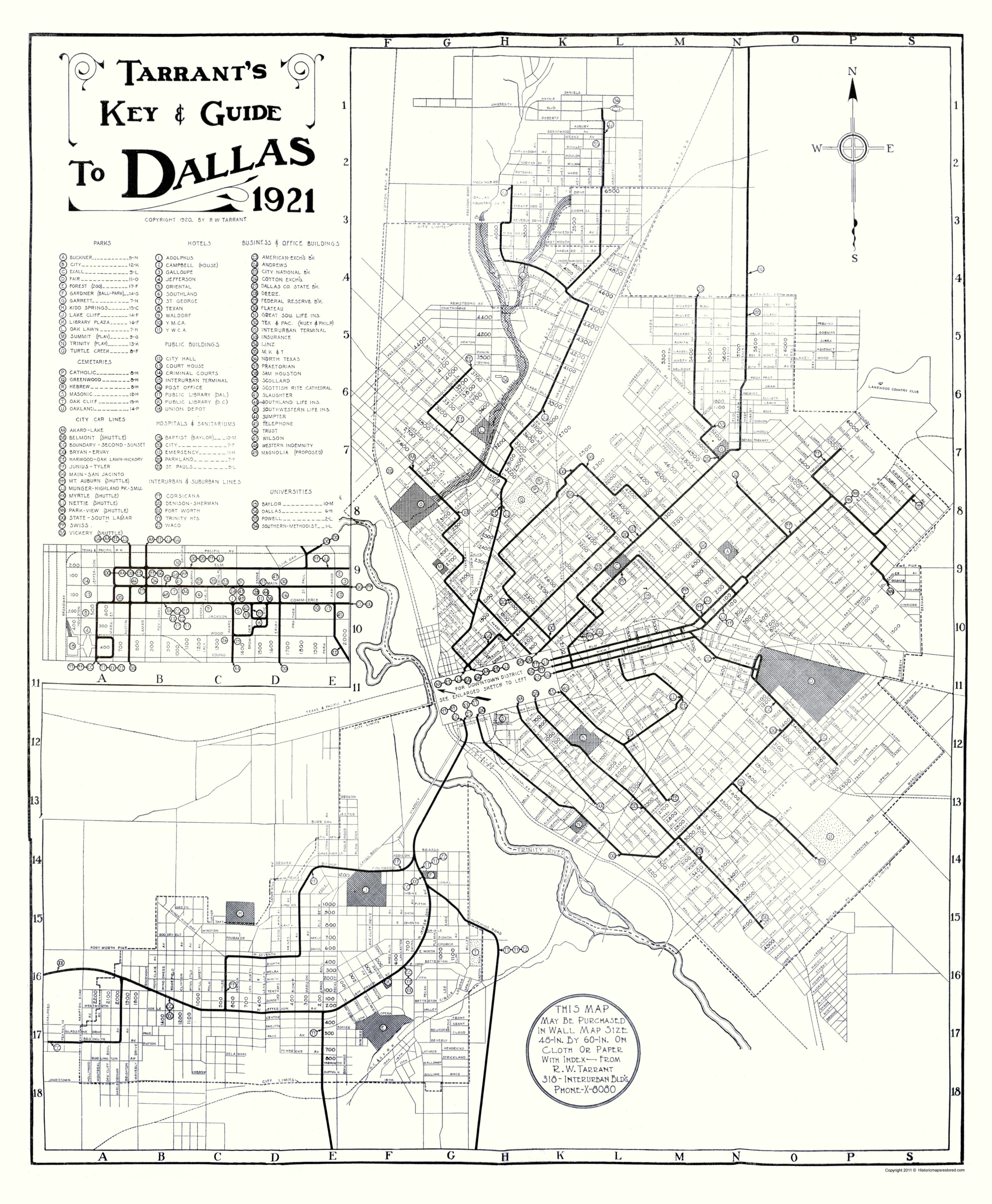 Old Dallas Map.Old City Map Dallas Texas Key And Guide Tarrant 1921