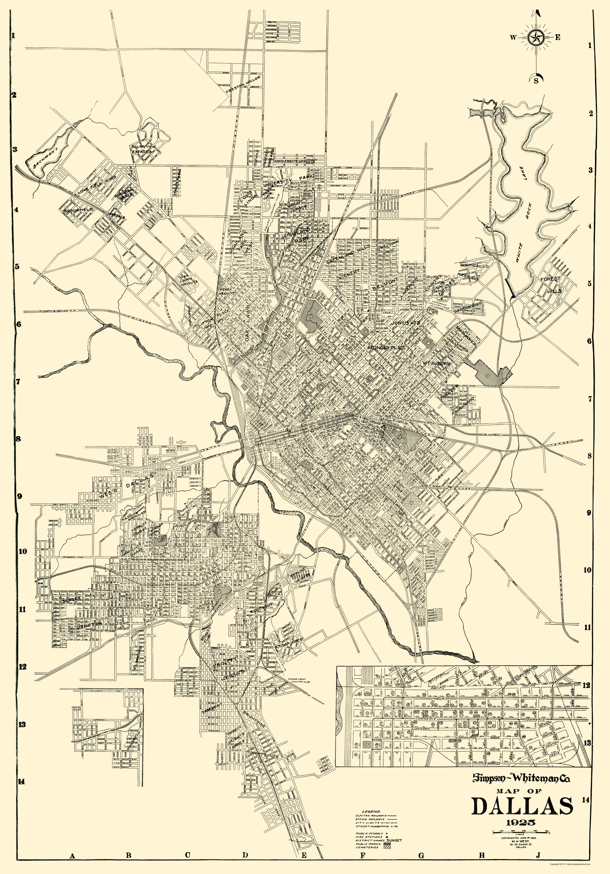 Old City Map - Dallas Texas - West 1925 Dallas Tx Map on