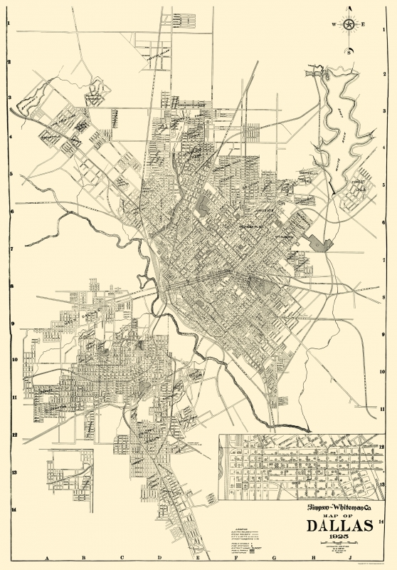 Old City Map Dallas Texas West 1925