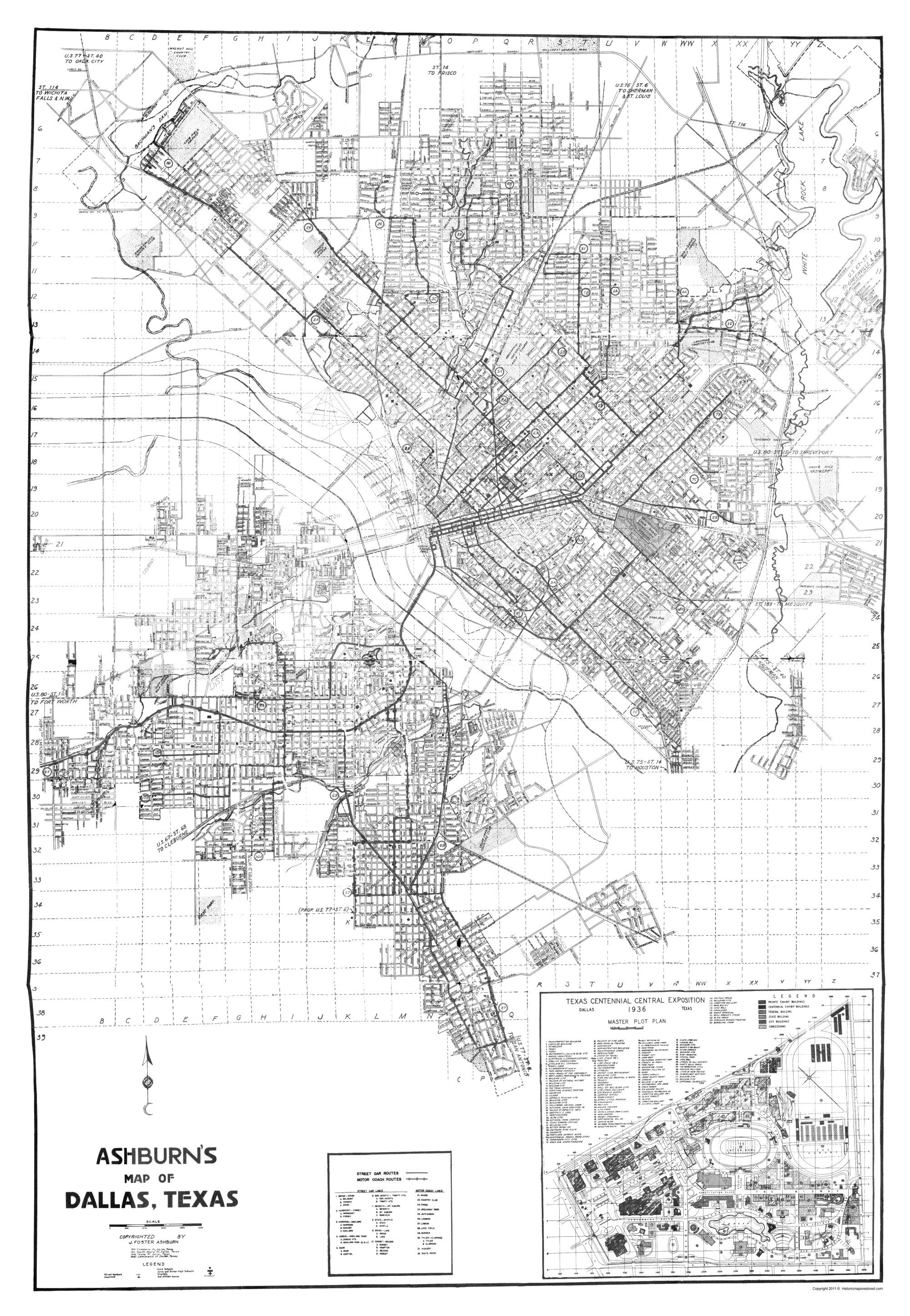 Old Dallas Map.Old City Map Dallas Texas Ashburn 1936