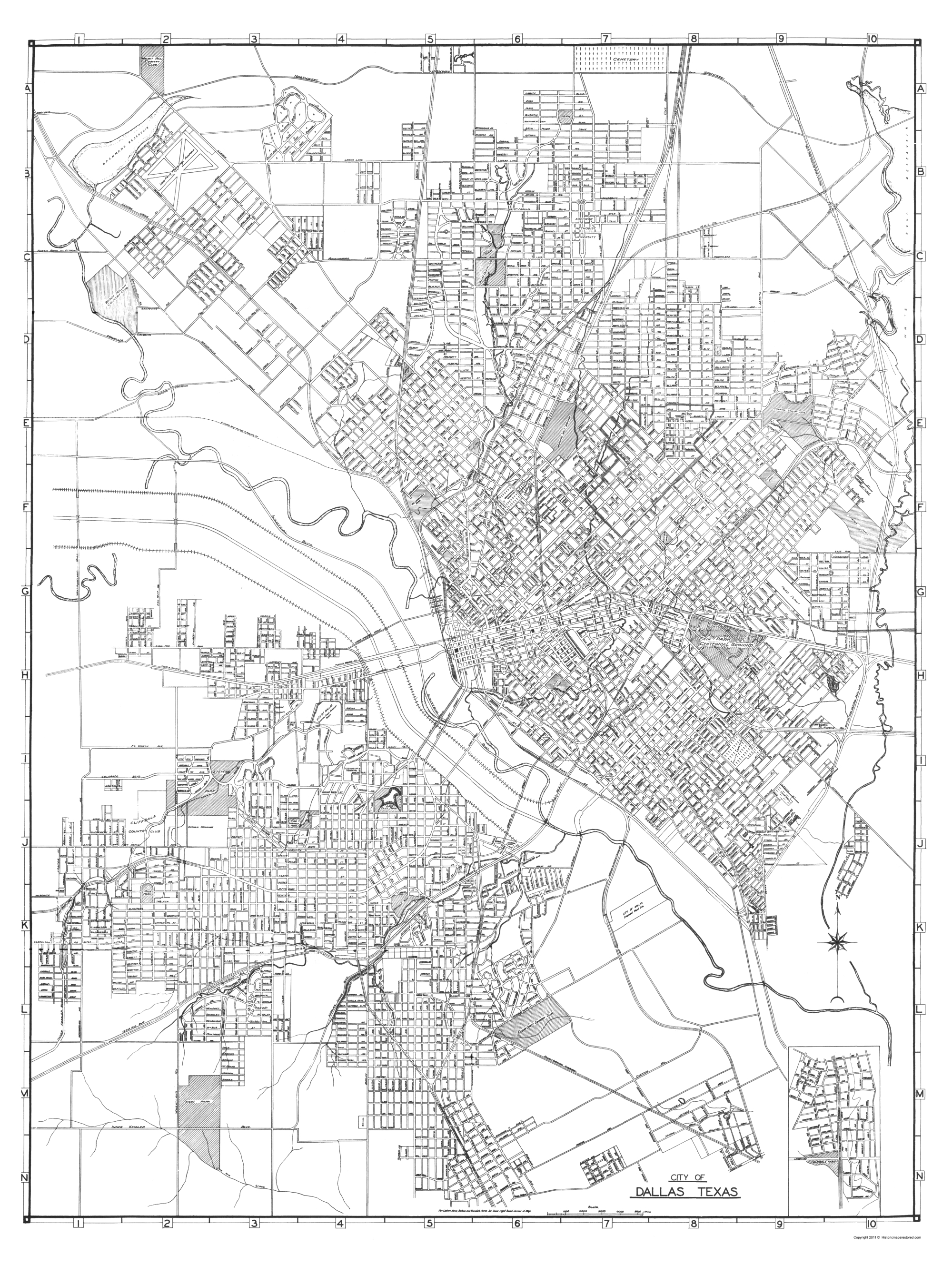 Old City Map - Dallas Texas - 1936