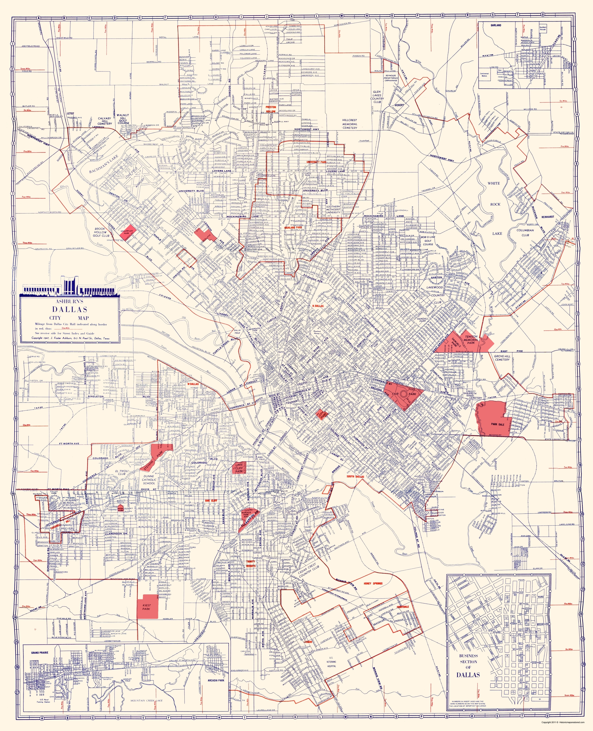 Old Dallas Map.Old City Map Dallas Texas Ashburn 1947