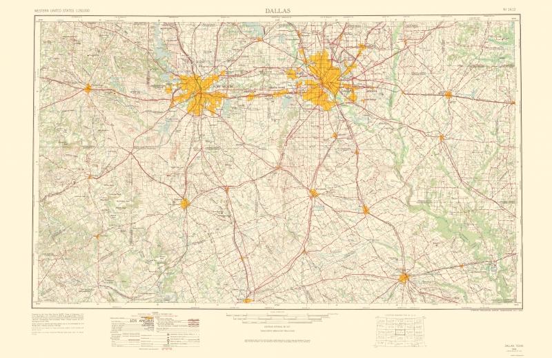 Topographical Map Print - Dallas Texas - USGS 1963 - 23 x 35.35 on dallas tx, houston texas map, irving texas map, mckinney texas map, usa map, alpine texas map, plano texas map, denton texas map, highland village texas map, florida map, oklahoma texas map, san diego map, roanoke texas map, chicago map, cleburne texas map, flagstaff arizona map, little elm texas map, frisco texas map, oak cliff texas map, north texas map,