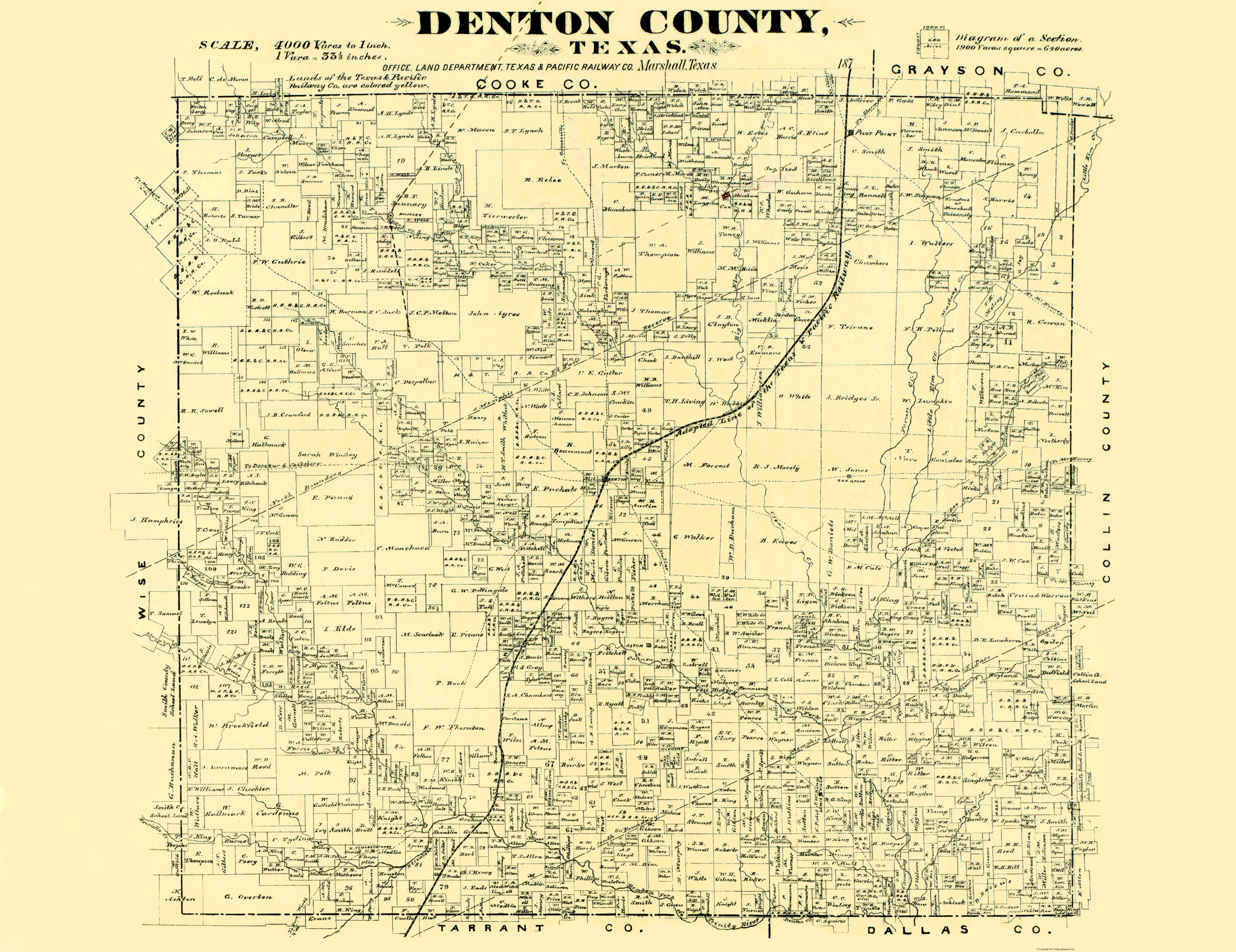 Old County Map - Denton Texas 1878 on
