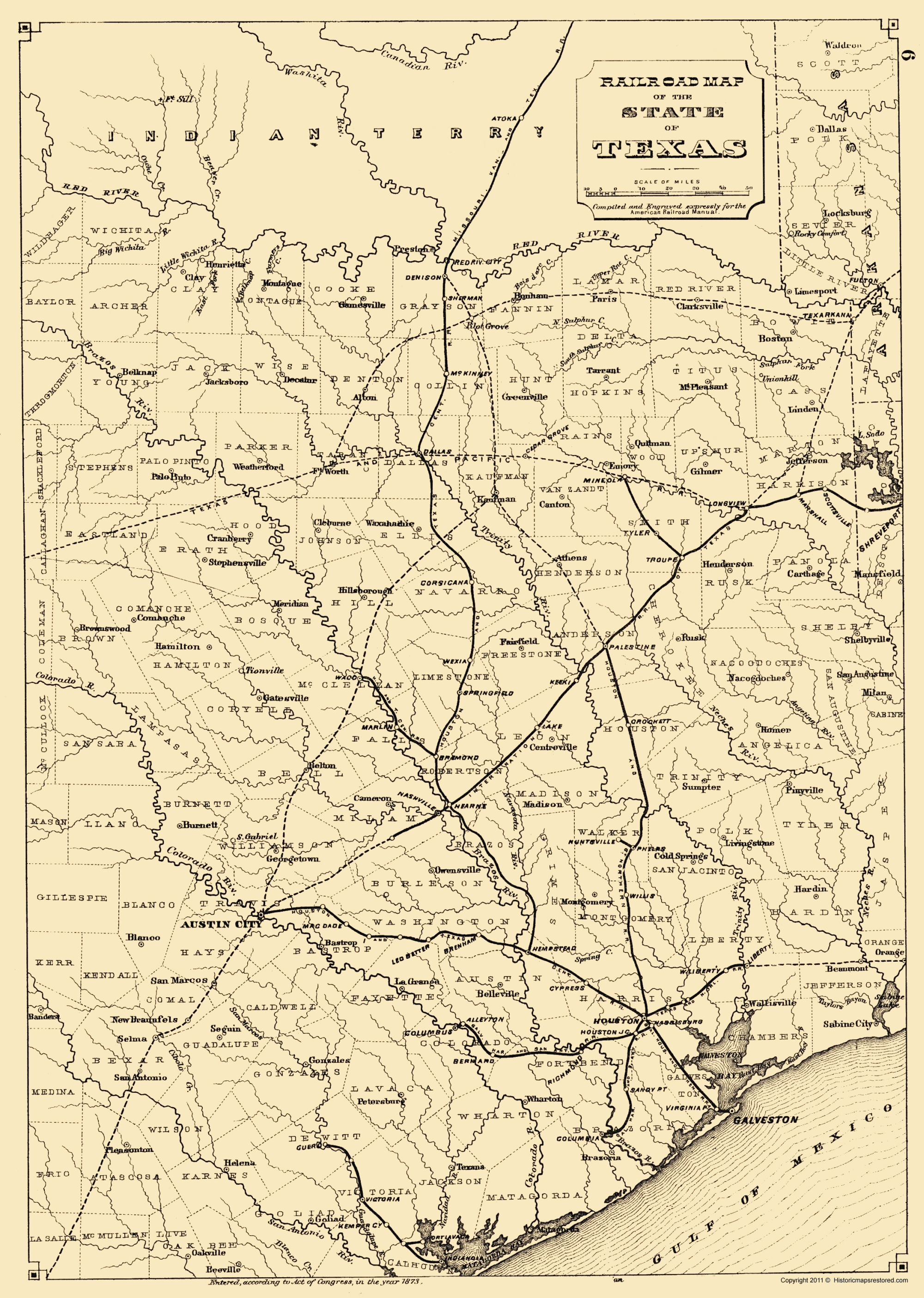 The Map Of Texas State.Old Railroad Map Texas State Railroads 1873