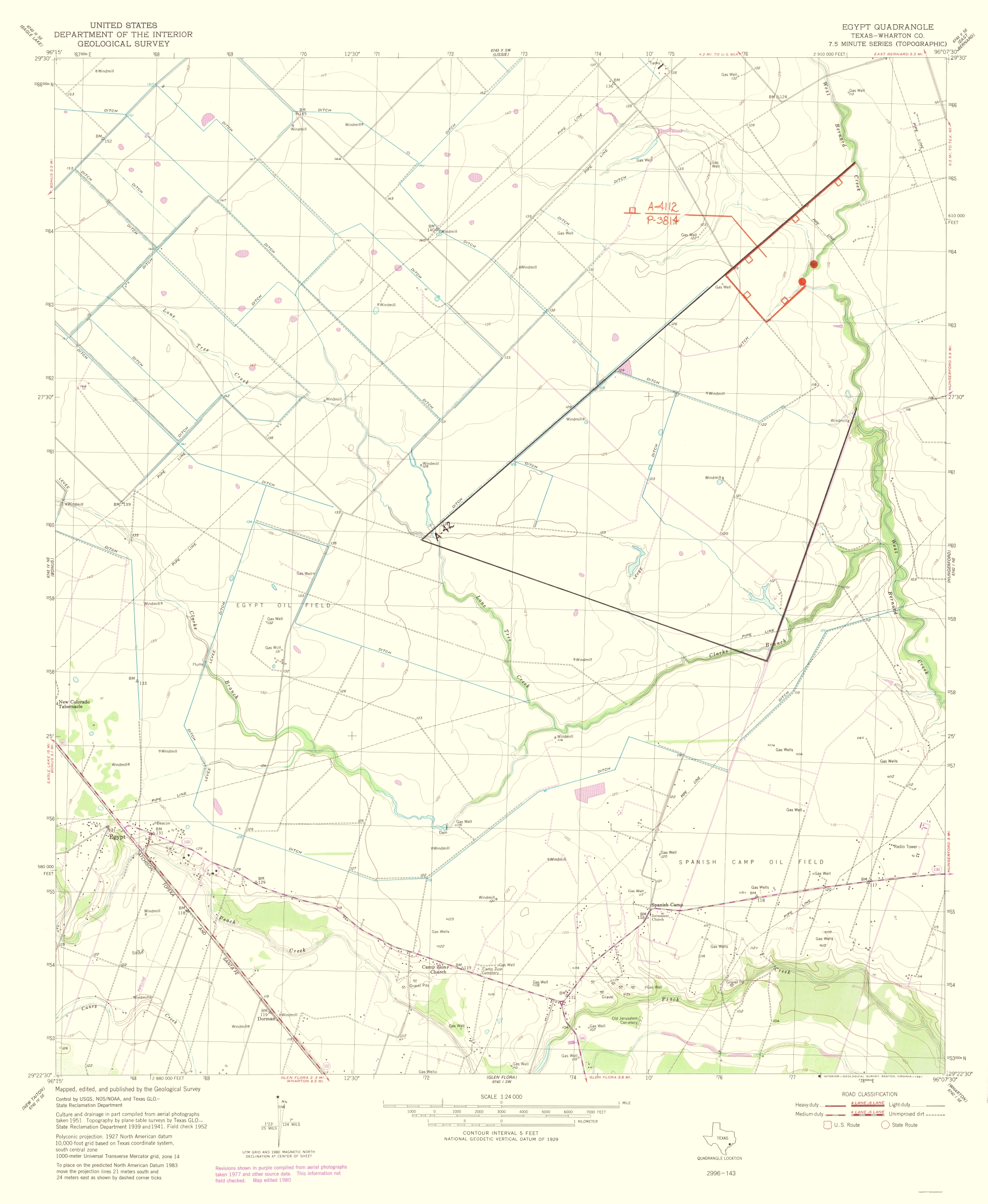 Old Topographical Map Egypt Texas - Map of egypt texas