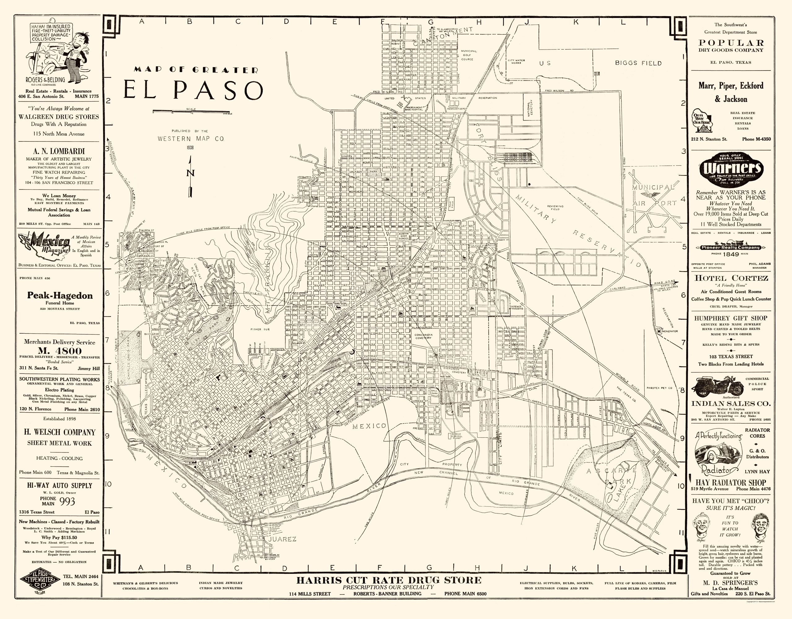 Old City Map El Paso Texas Western 1938