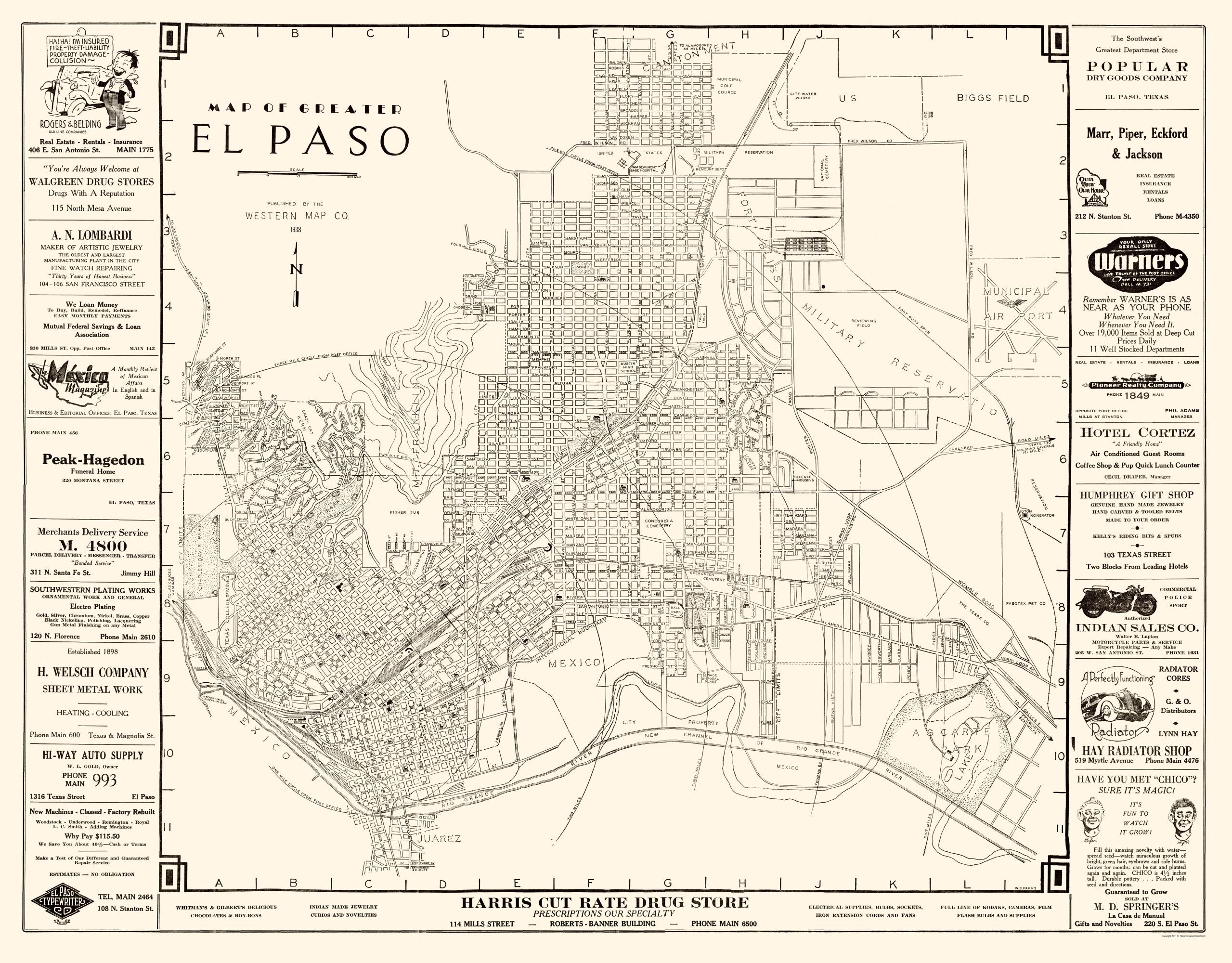 Old City Map El Paso Texas Western 1938