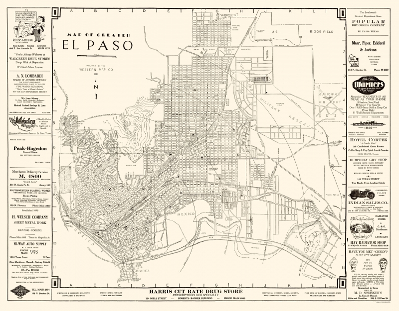 El Paso Texas - Western 1938 - 23 x 29.42 Sale Antique Maps Of Texas on religion maps of texas, antique nevada map, railroad map in texas, rare maps of texas, decorative maps of texas, antique alaska map, ancient maps of texas, antiques in texas, blue maps of texas, on a map of ja ranch texas, historical maps of san antonio texas, large print road maps texas, antique show round top texas, antique show round top map, rustic maps of texas, charts of texas, agriculture maps of texas, vintage texas, printable maps north texas,