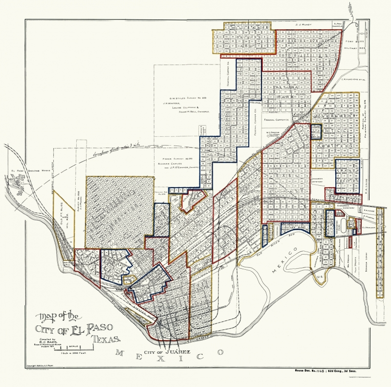 Old City Map El Paso Texas Baer 1906