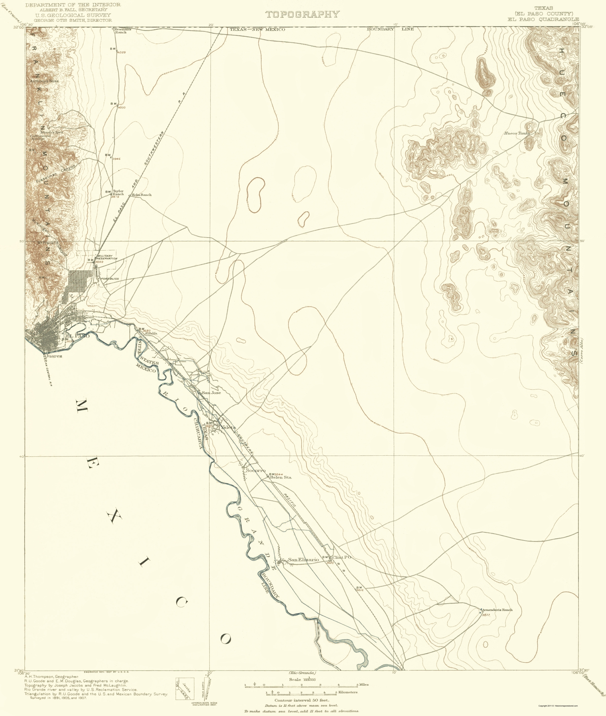 Old Topographical Map - El Paso Texas 1907