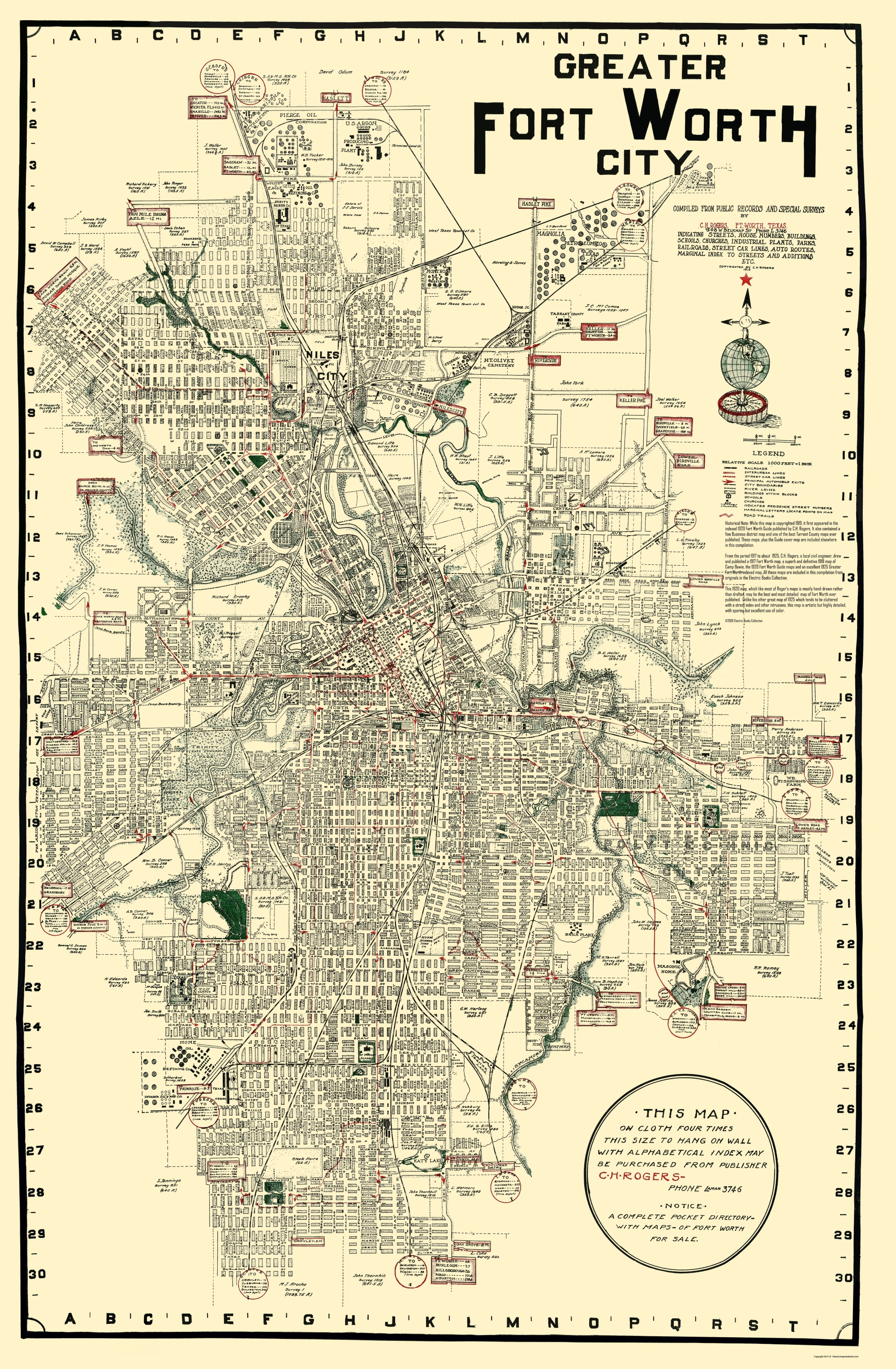 Old City Map - Fort Worth Texas - Rogers 1920