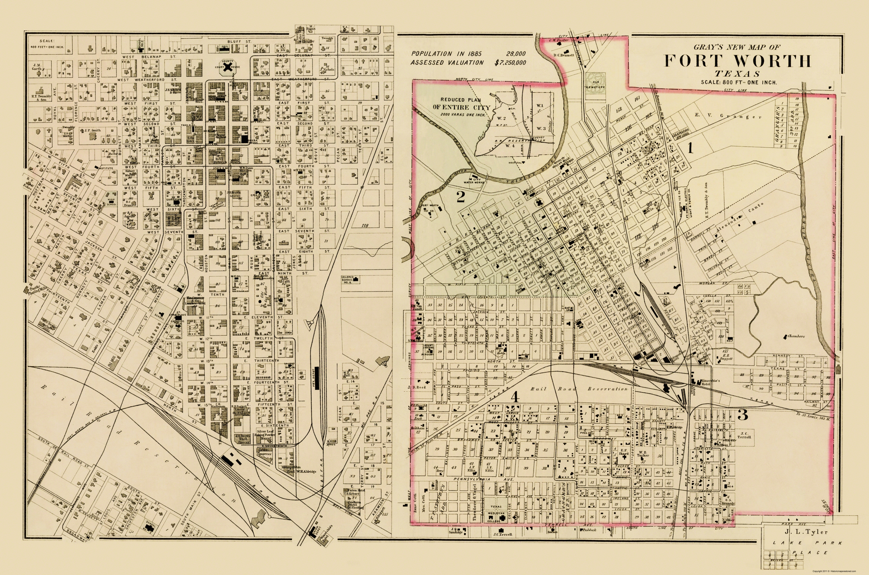 Old City Map Ft Worth Texas Landowner Gray 1885