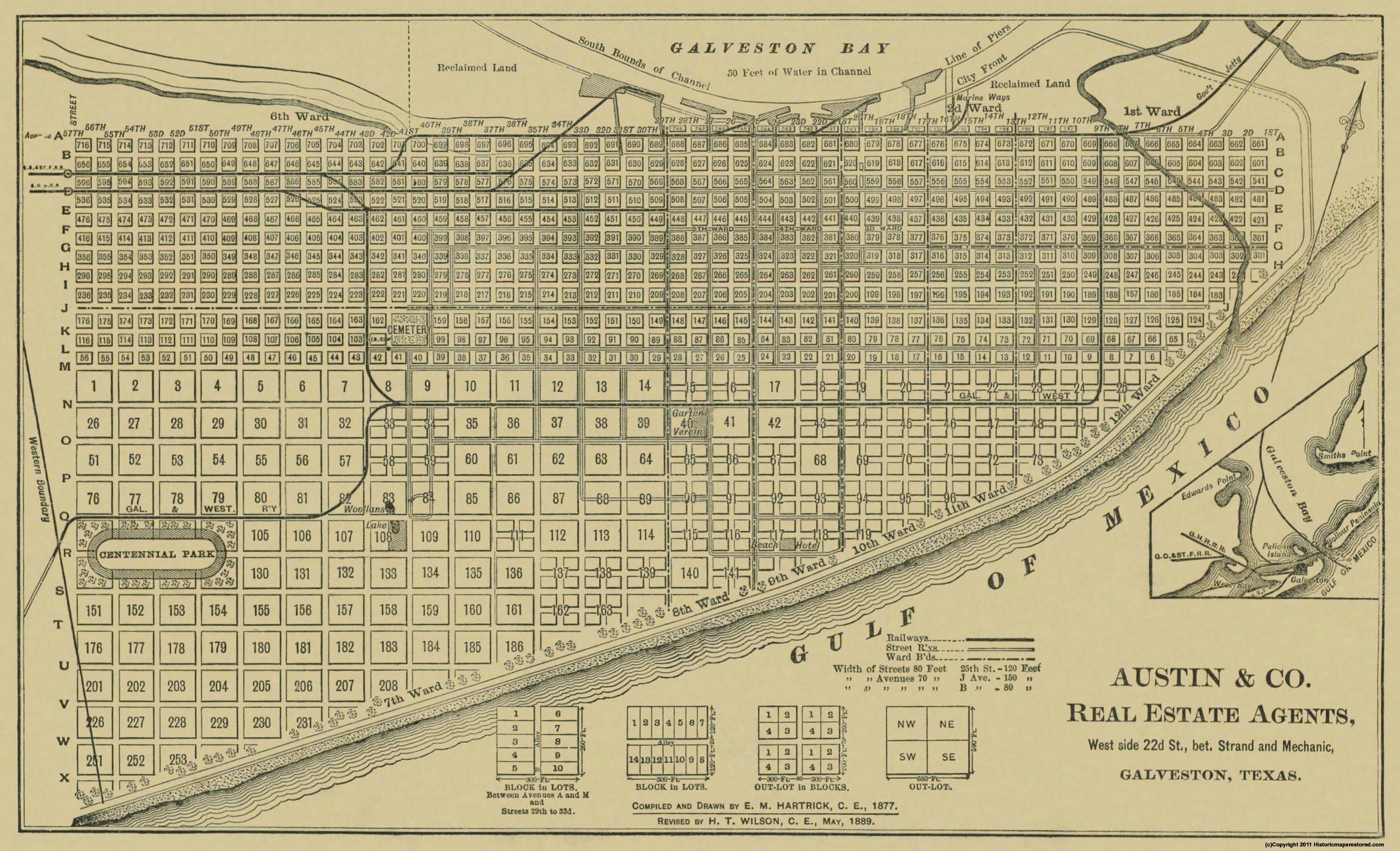 Old City Map - Galveston Texas - Austin 1891 City Map Of Austin Tx on