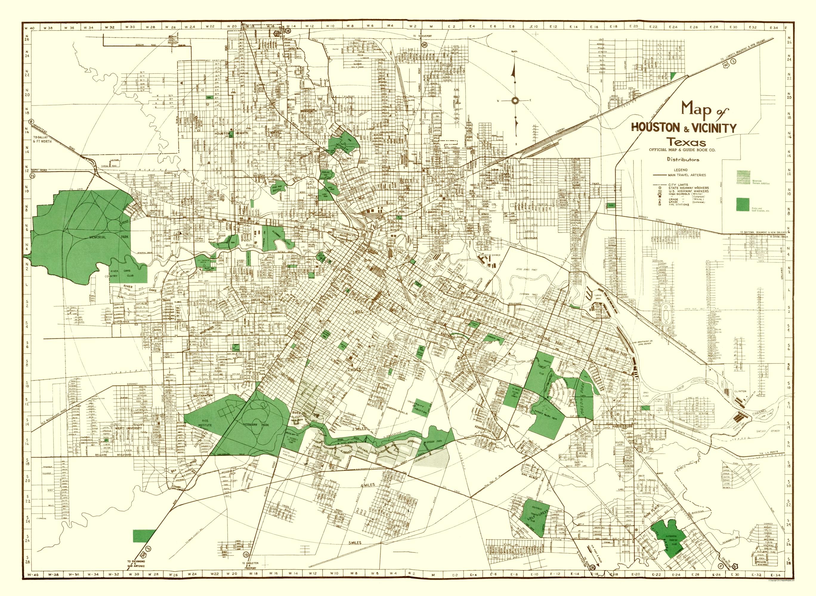 Old City Map - Houston Texas - Evans 1937 City Map Of Houston Texas on