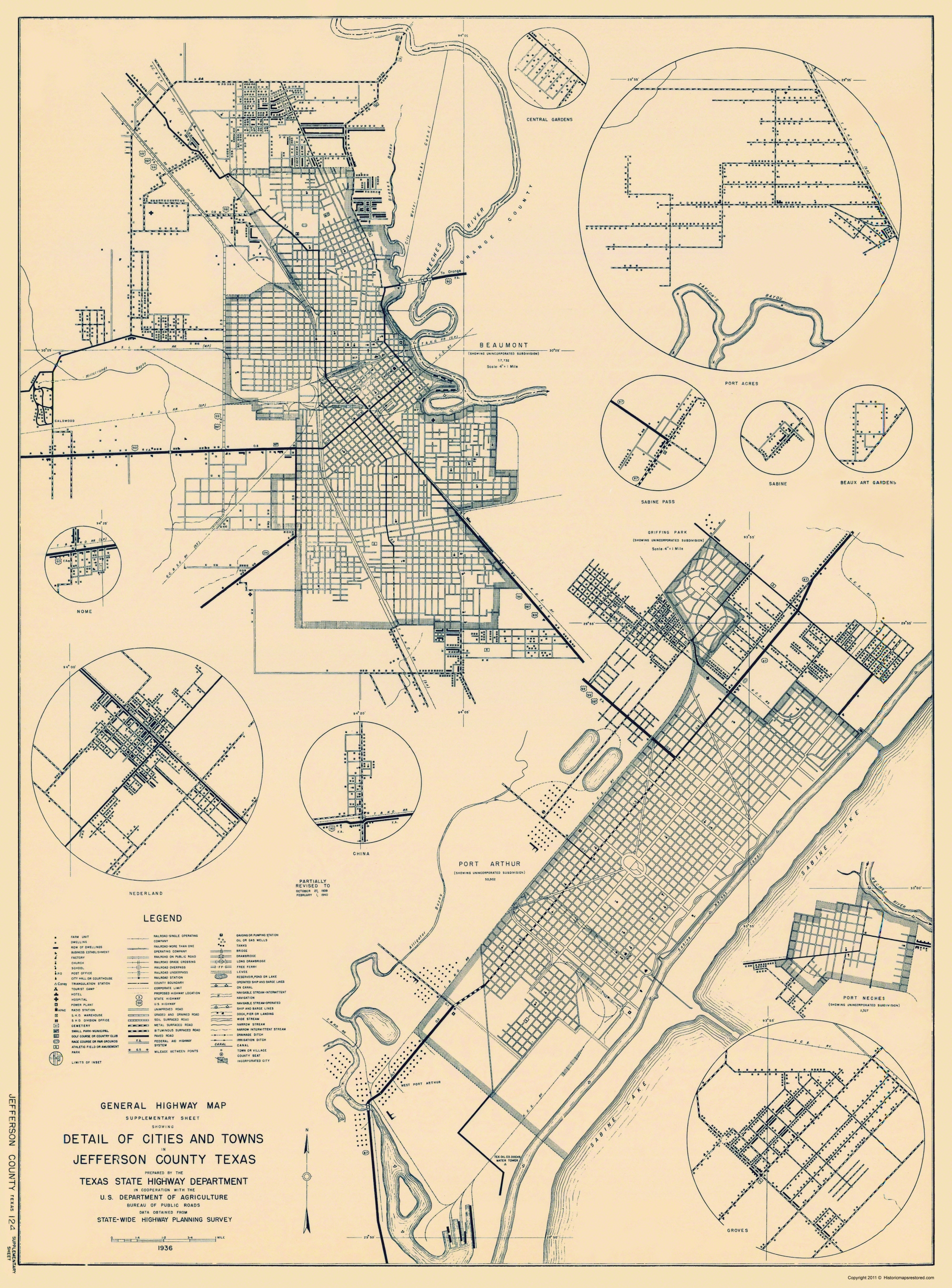 Map Of Beaumont Texas.Old County Map Jefferson Texas Highway Dept 1936
