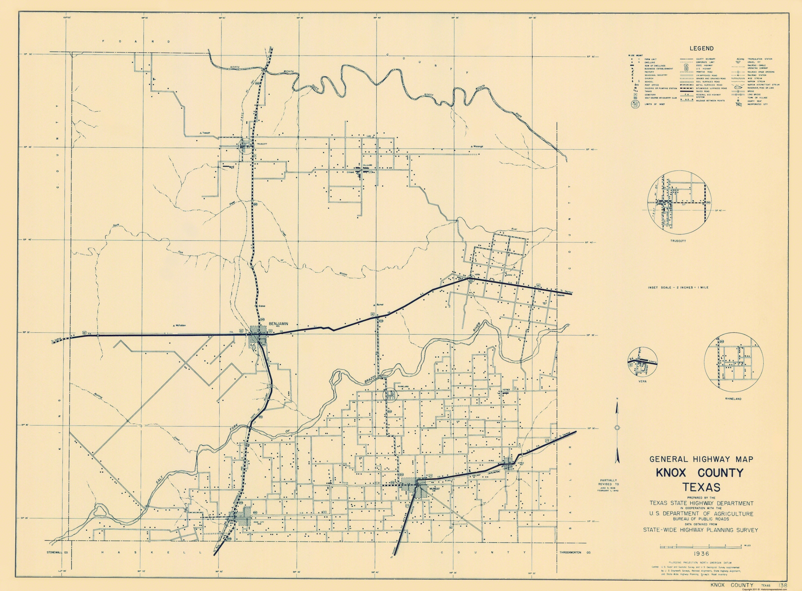 Old County Map Knox Texas Highway Highway Dept 1936