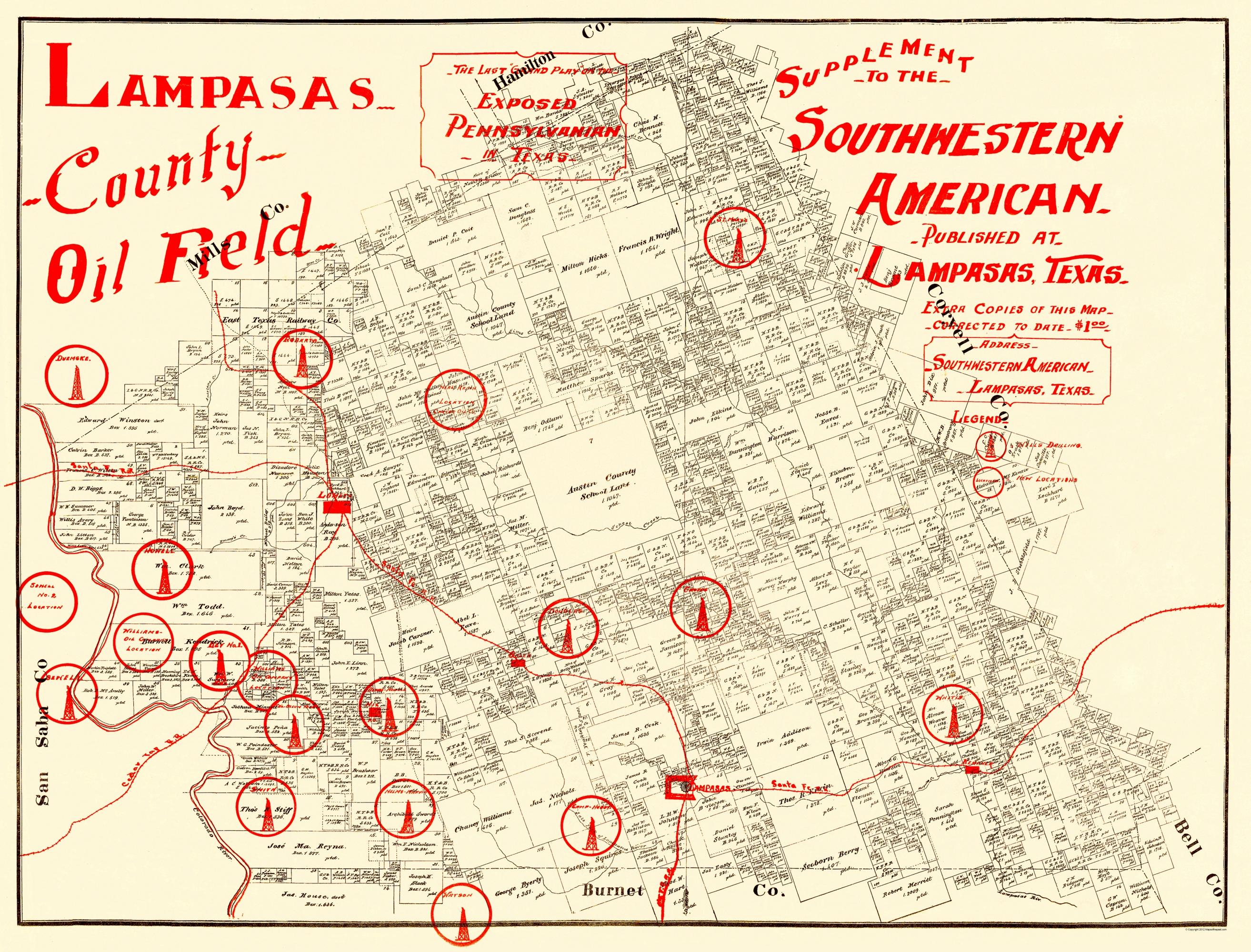 Old Mining Map Lampasas County Oil Field Pennsylvania - Us mining map counties