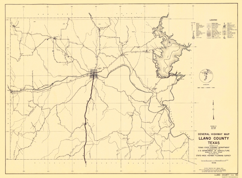 State Of Texas County Map.Old County Map Llano Texas Highway Dept 1936 23 X 31 17