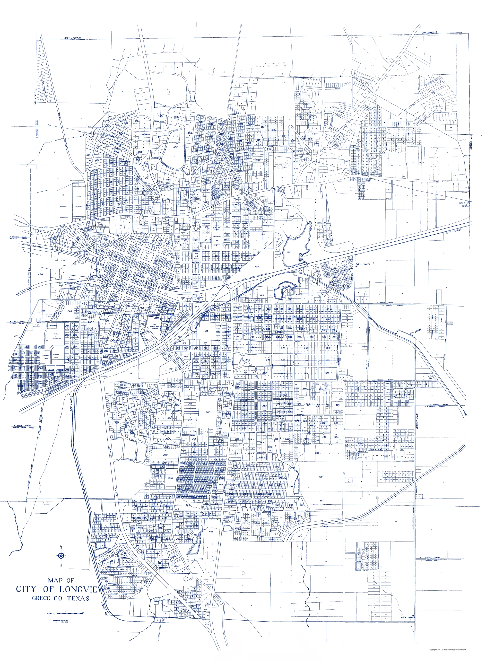 Old City Map Longview Texas 1949