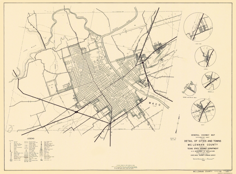 Texas Map Of Cities Towns And Counties.Old County Map Mclennan Texas Highway Highway Dept 1936 23 X 31 11