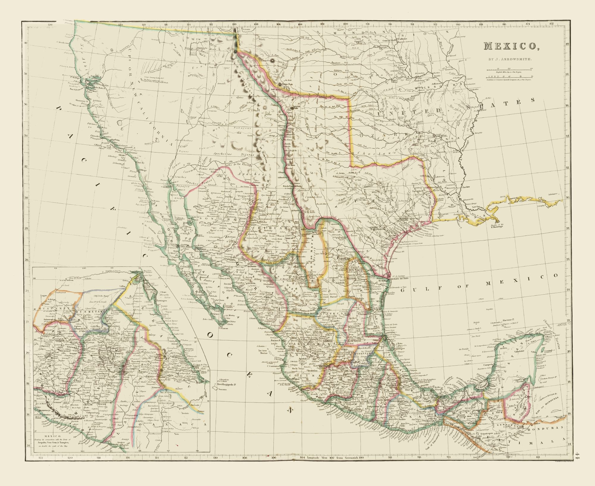 Map Of Texas Mexico.Old State Maps Early Texas Mexico Arrowsmith 1844 28 14 X 23