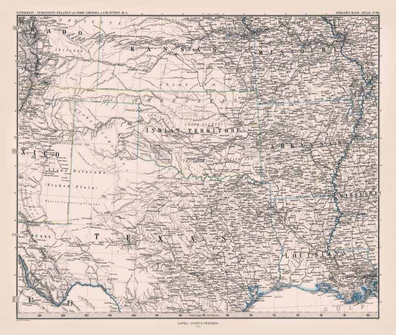 Old State Maps North Texas Perthes 1872 27 17 X 23