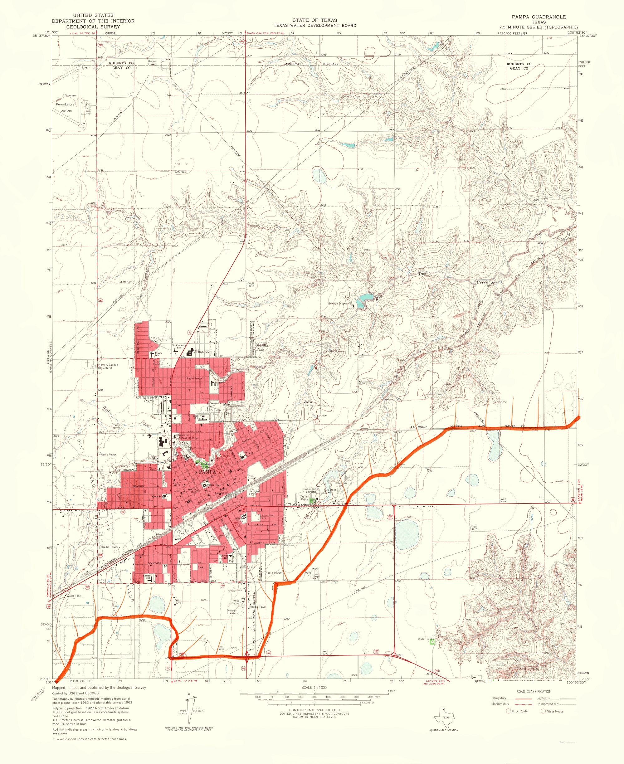 Old Topographical Map - Pampa Texas 1968 on