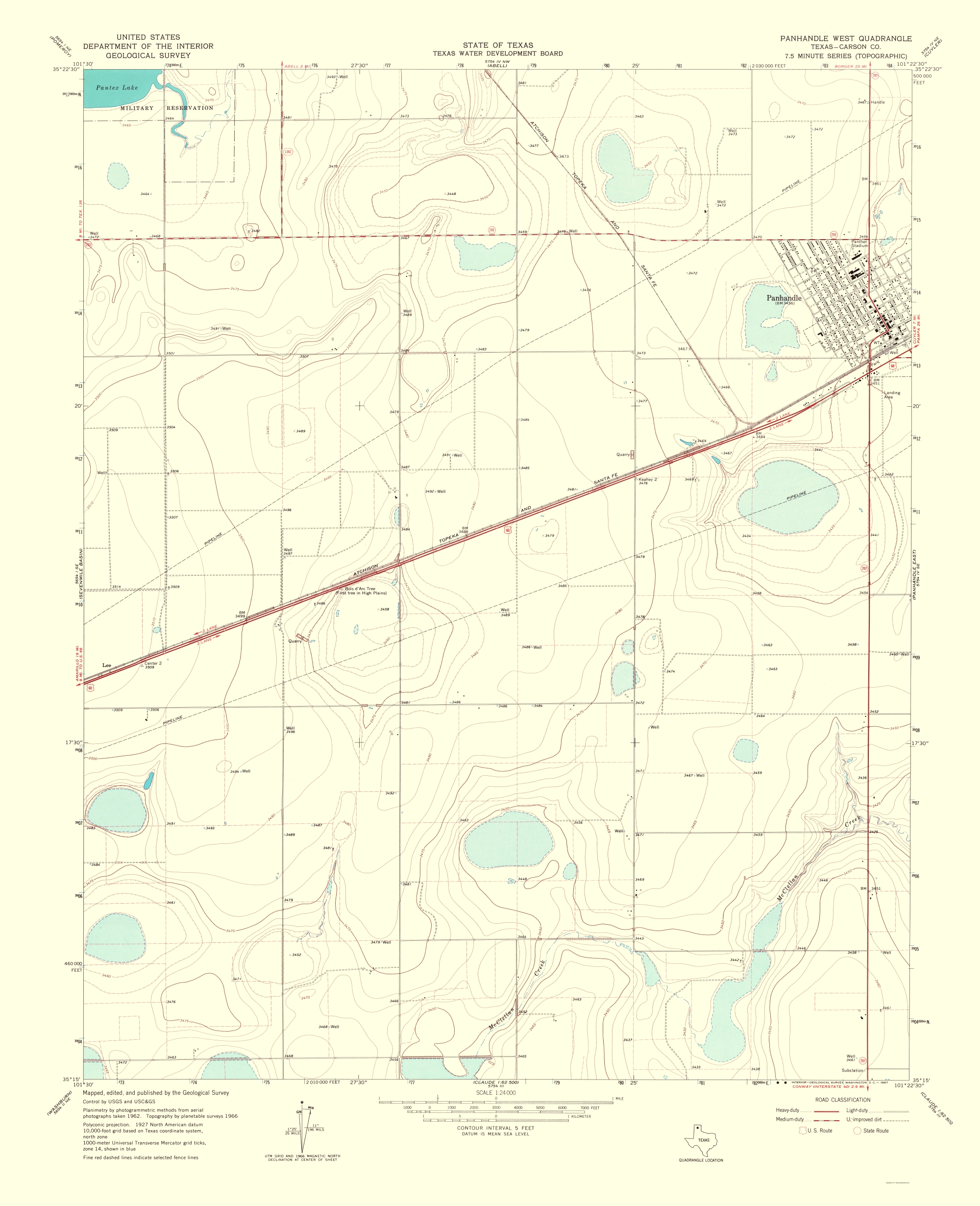 Old Topographical Map - Panhandle, West Texas 1967